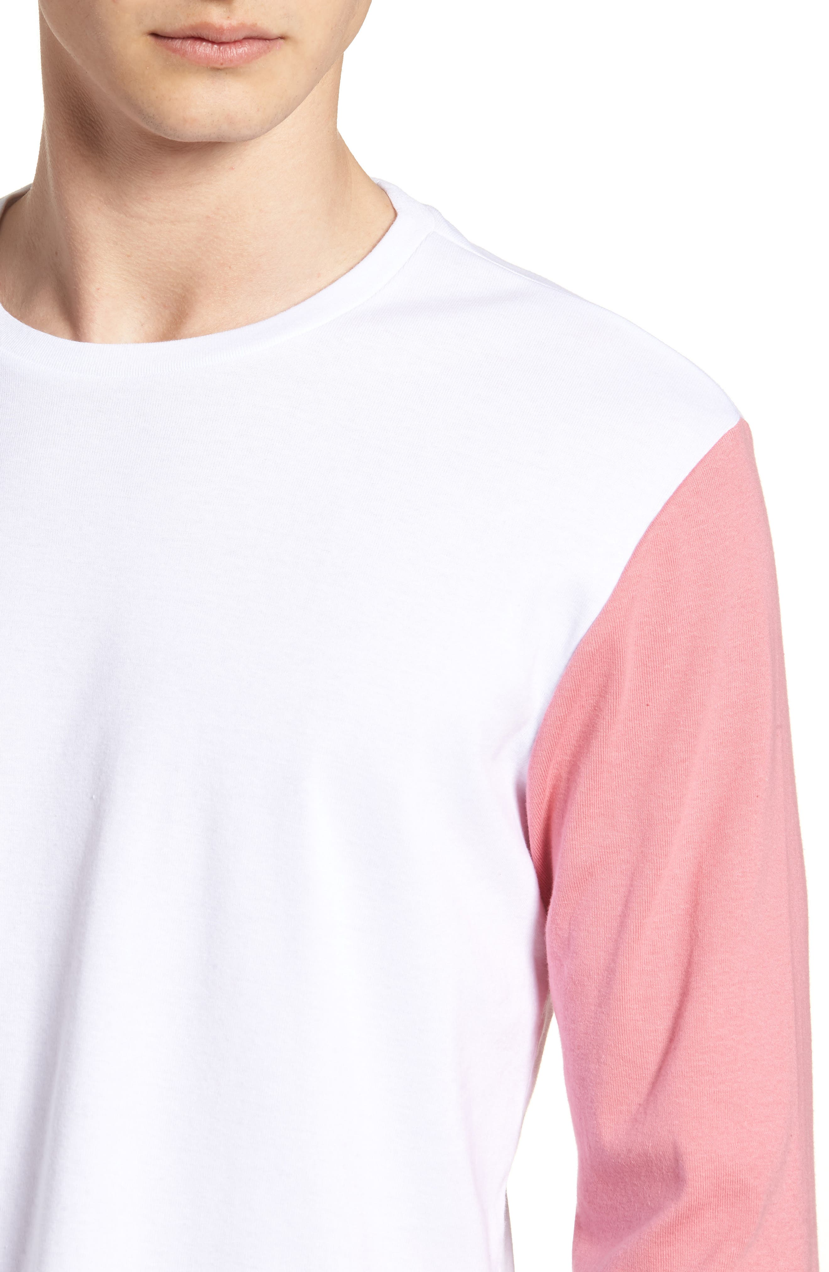Contrast Sleeve T-Shirt,                             Alternate thumbnail 4, color,                             White/ Pink / Blue