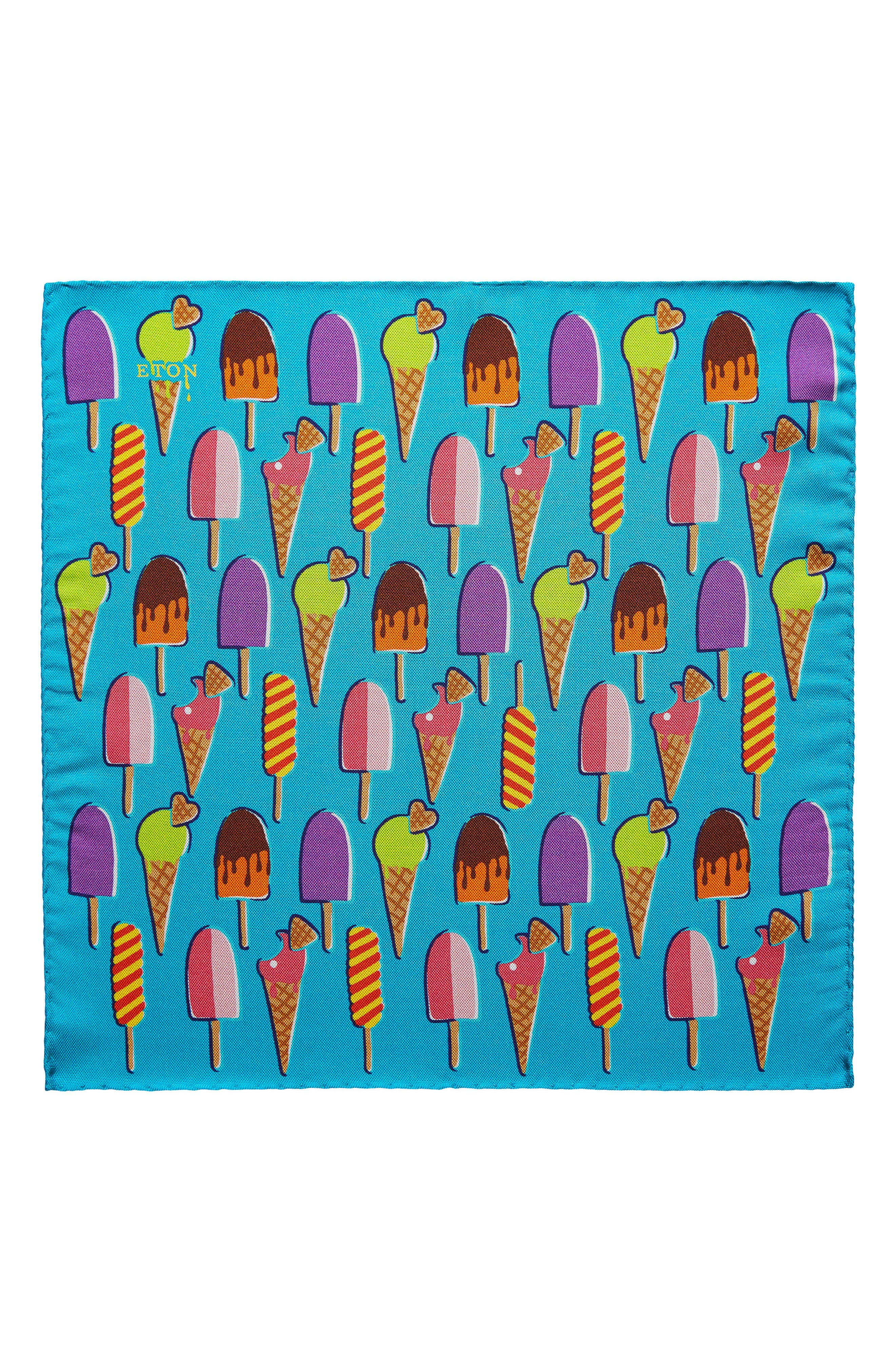Ice Cream Silk Pocket Square,                             Main thumbnail 1, color,                             Aqua