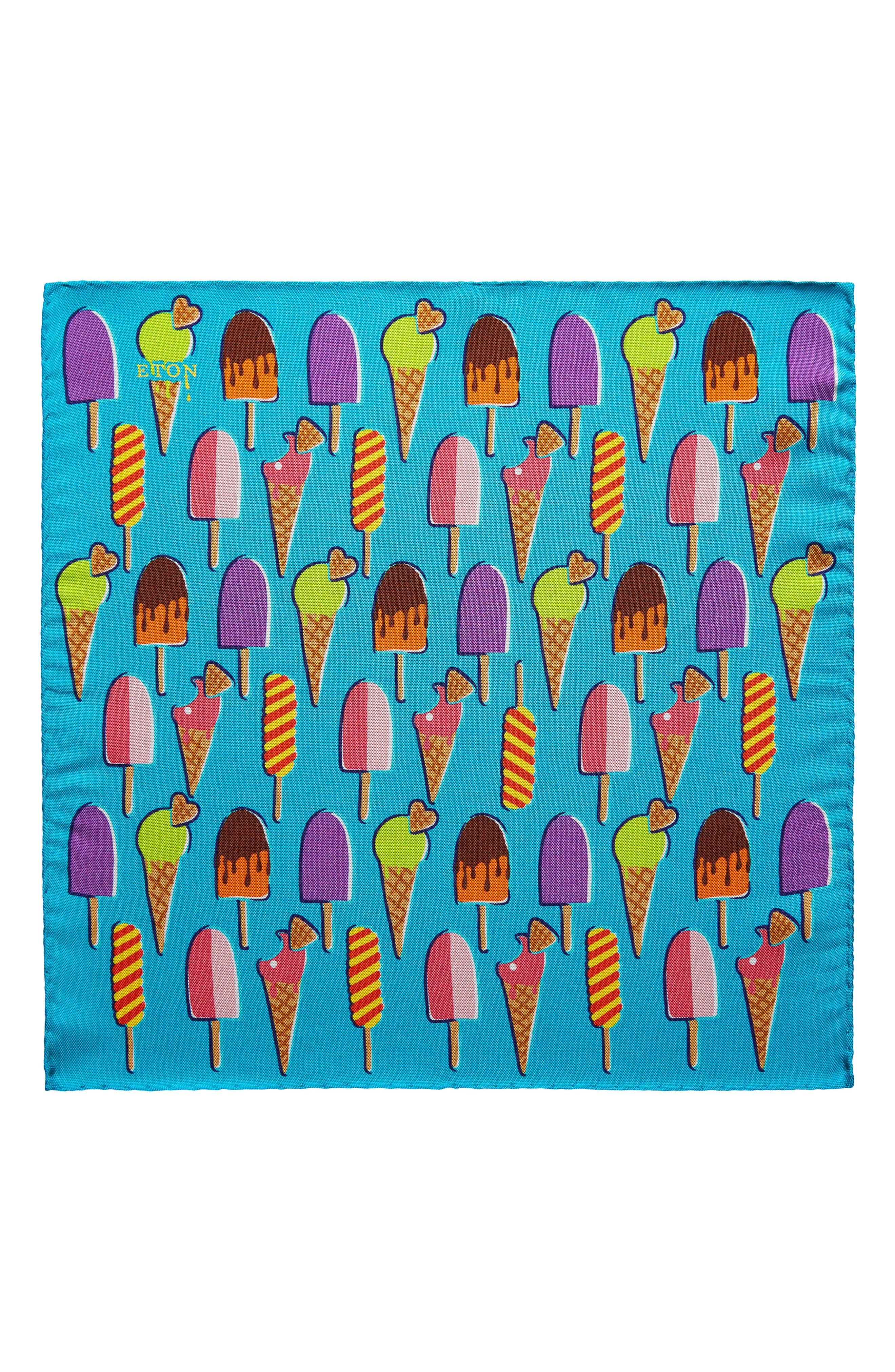 Ice Cream Silk Pocket Square,                         Main,                         color, Aqua