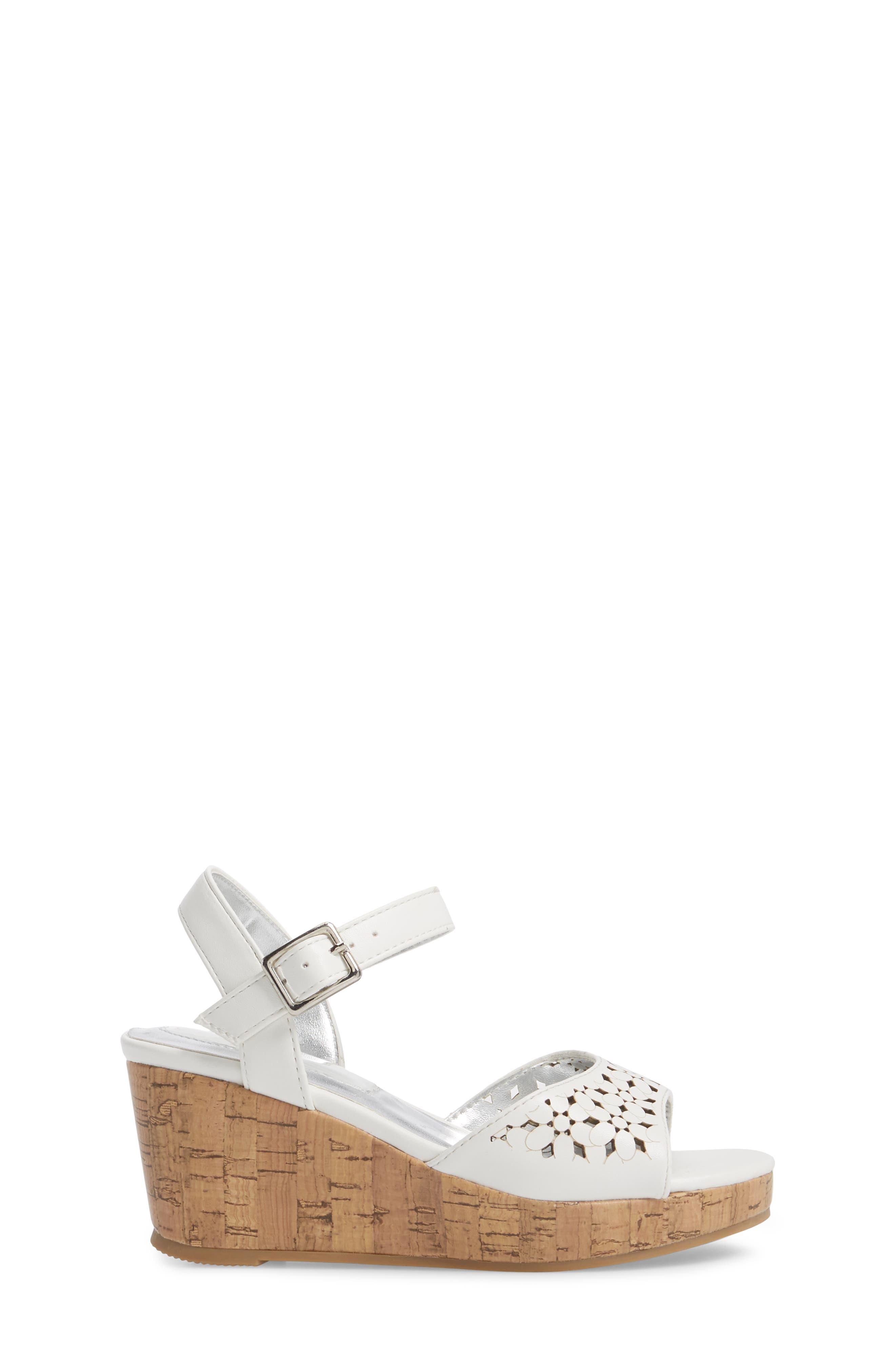 Corrine Flower Wedge Sandal,                             Alternate thumbnail 3, color,                             White
