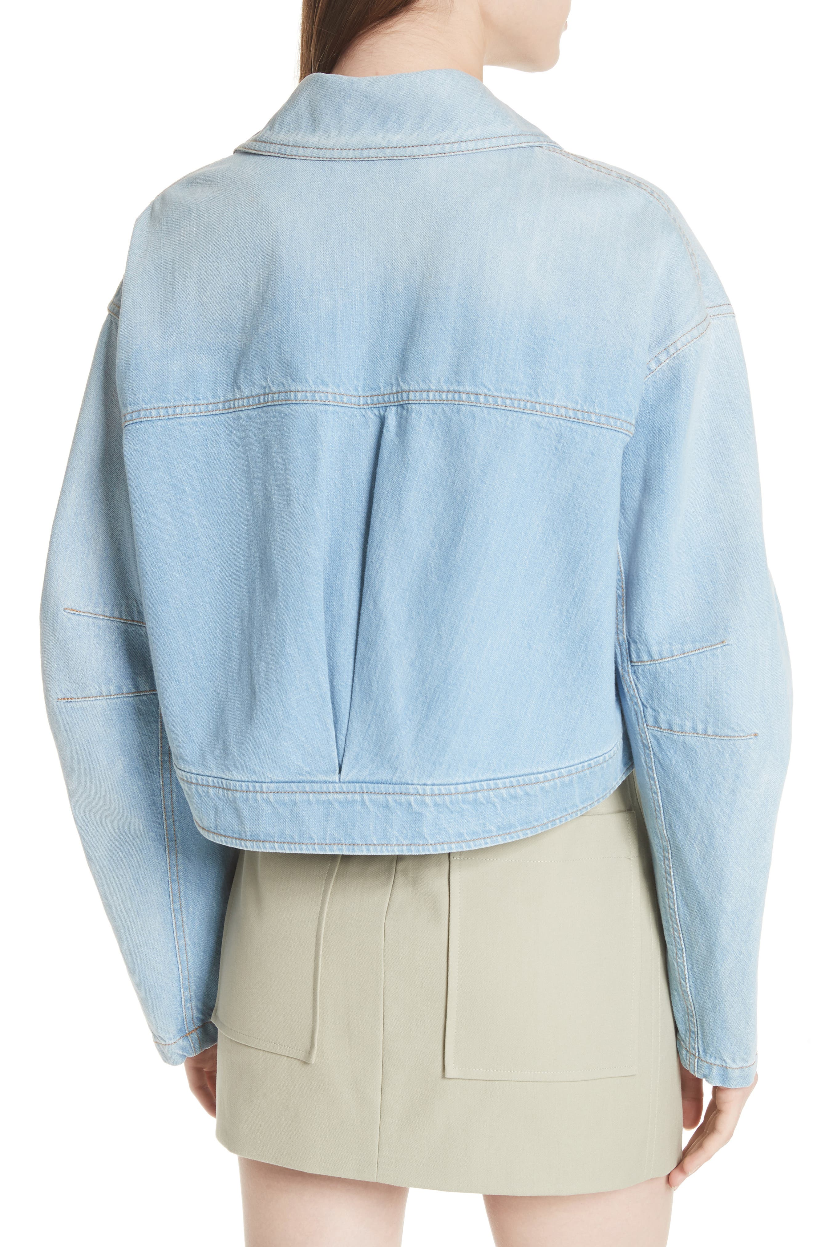Crop Denim Jacket,                             Alternate thumbnail 2, color,                             Vintage Stone Wash