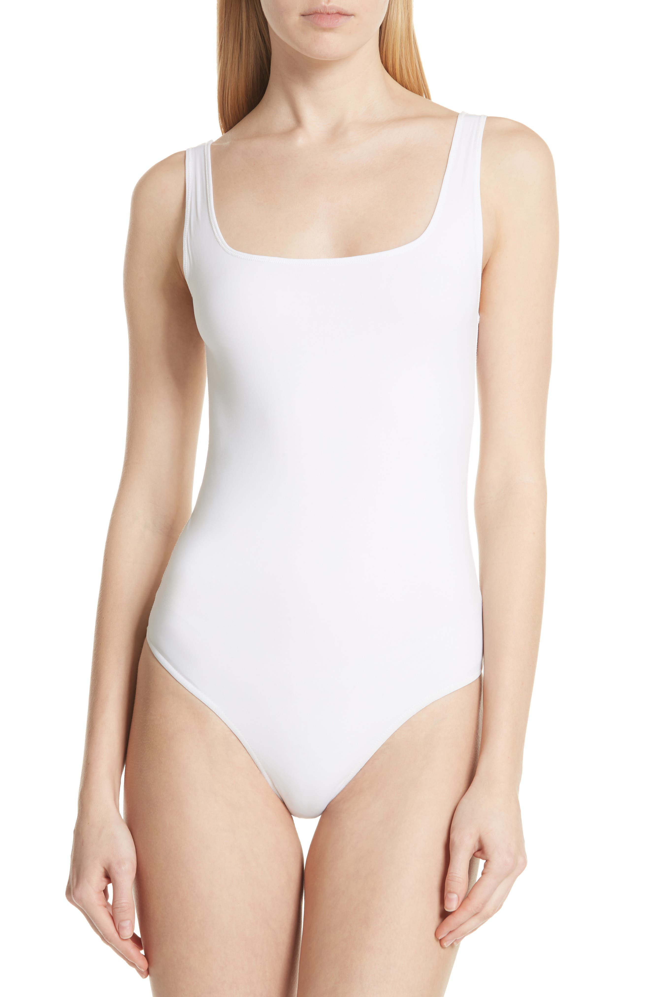 Square Neck Bodysuit,                             Alternate thumbnail 4, color,                             Optic White