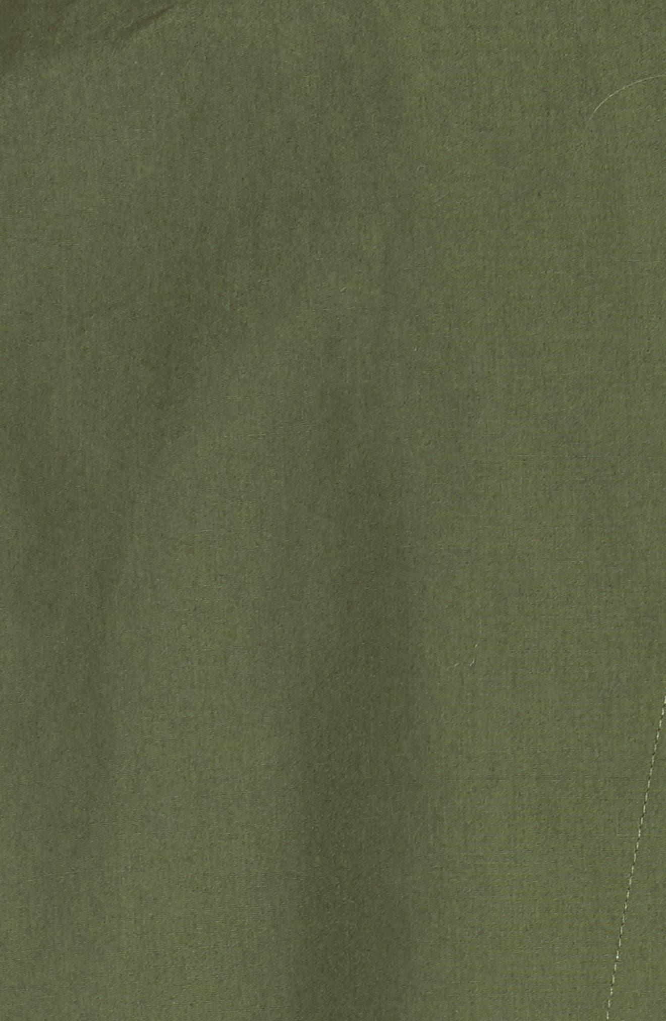 Back Cutout Cotton Utility Dress,                             Alternate thumbnail 5, color,                             Cedar