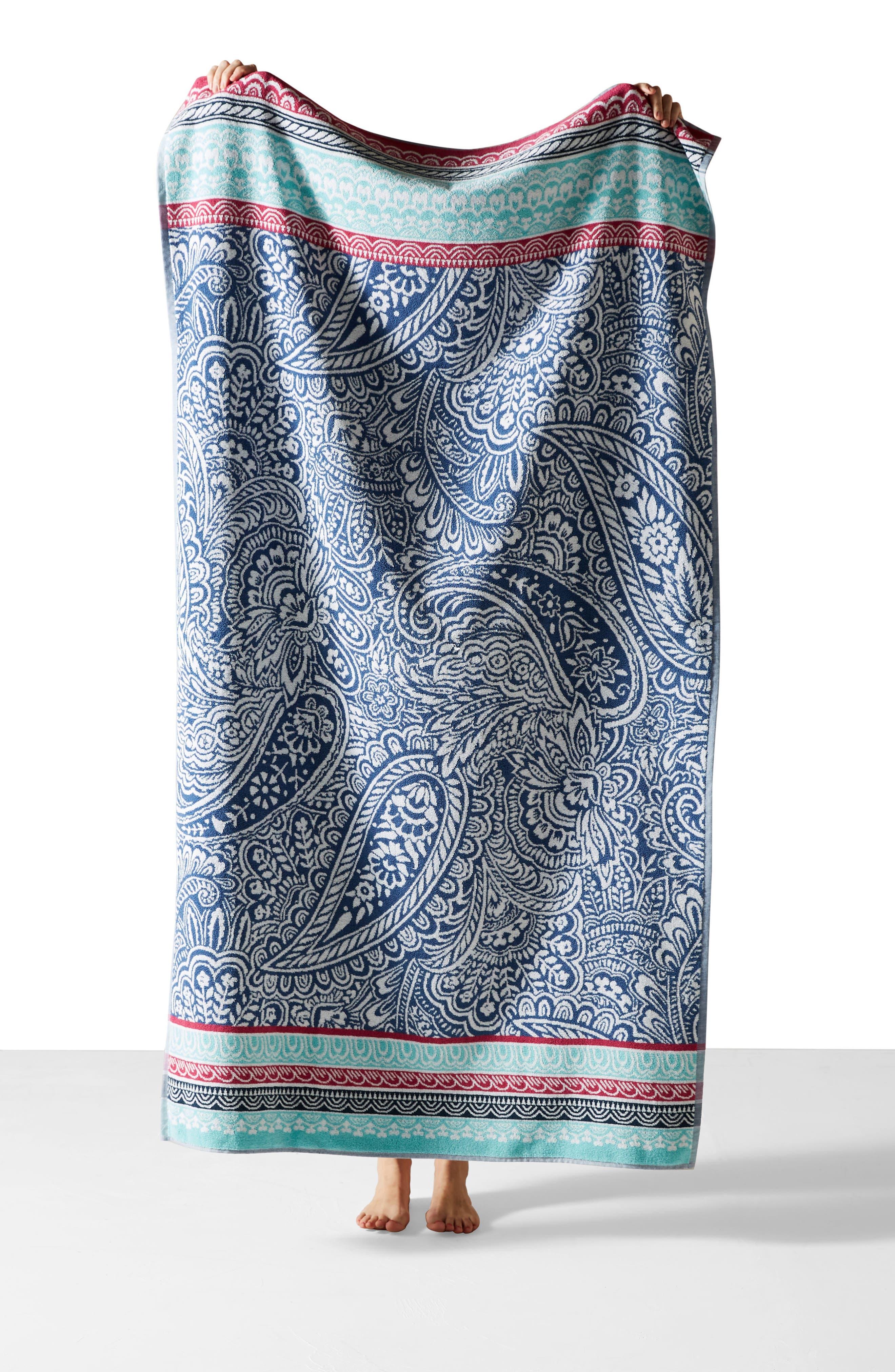 Paisley Beach Towel,                             Alternate thumbnail 3, color,                             Blue Combo