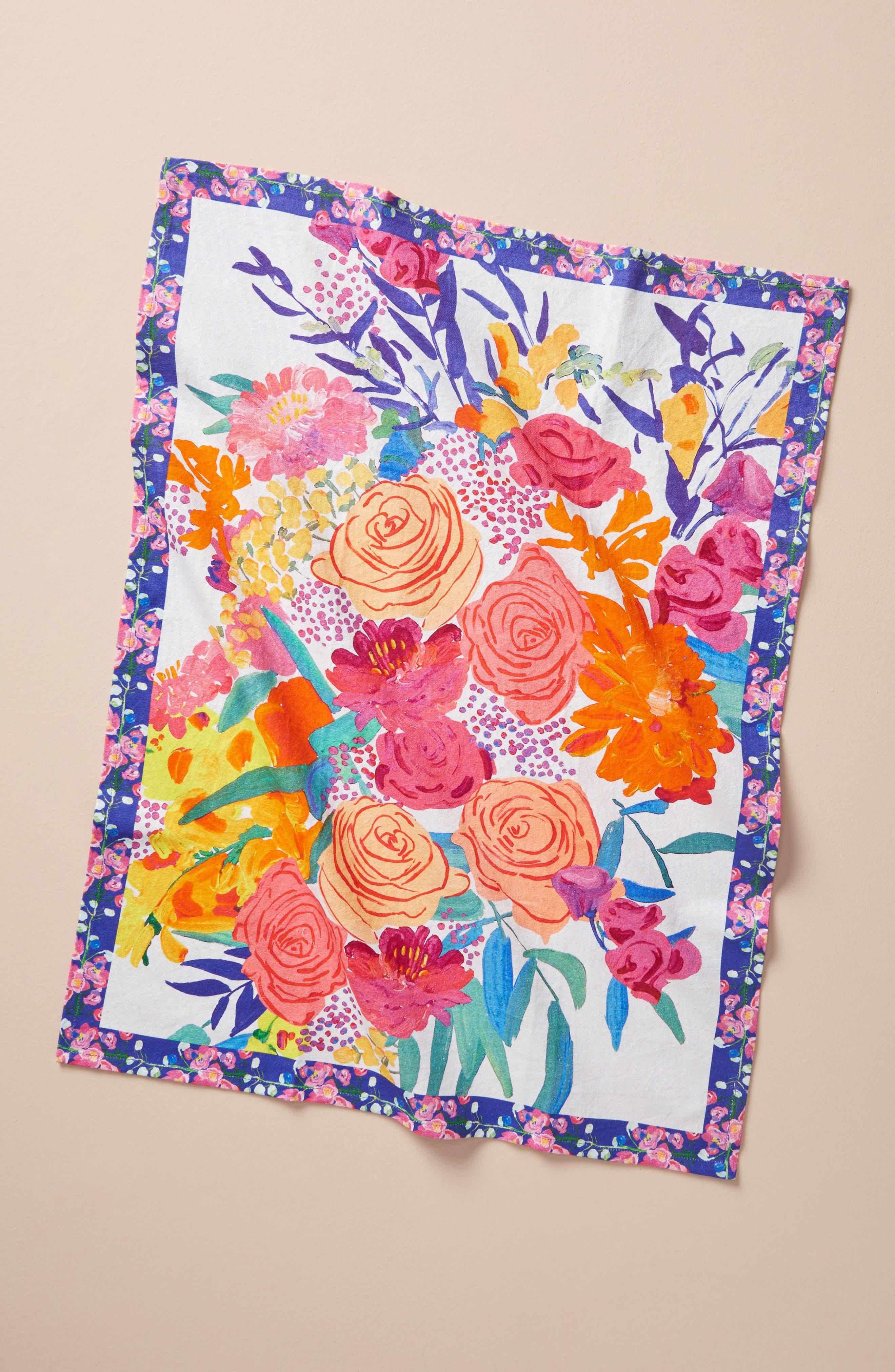 Paint + Petals Dishtowel,                         Main,                         color, Pink Combo