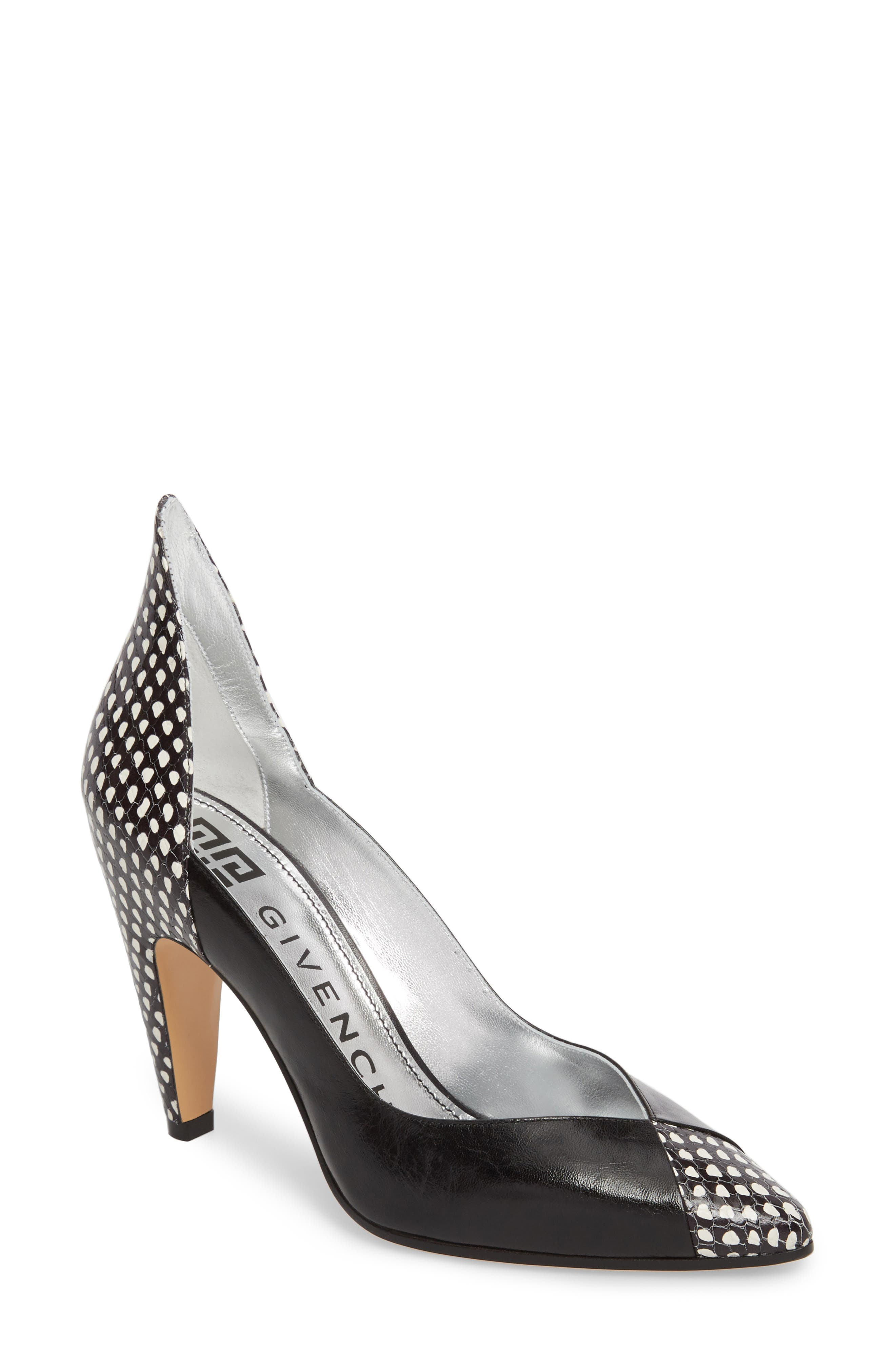Kangaroo Leather Pointy Toe Pump,                         Main,                         color, Black/ White