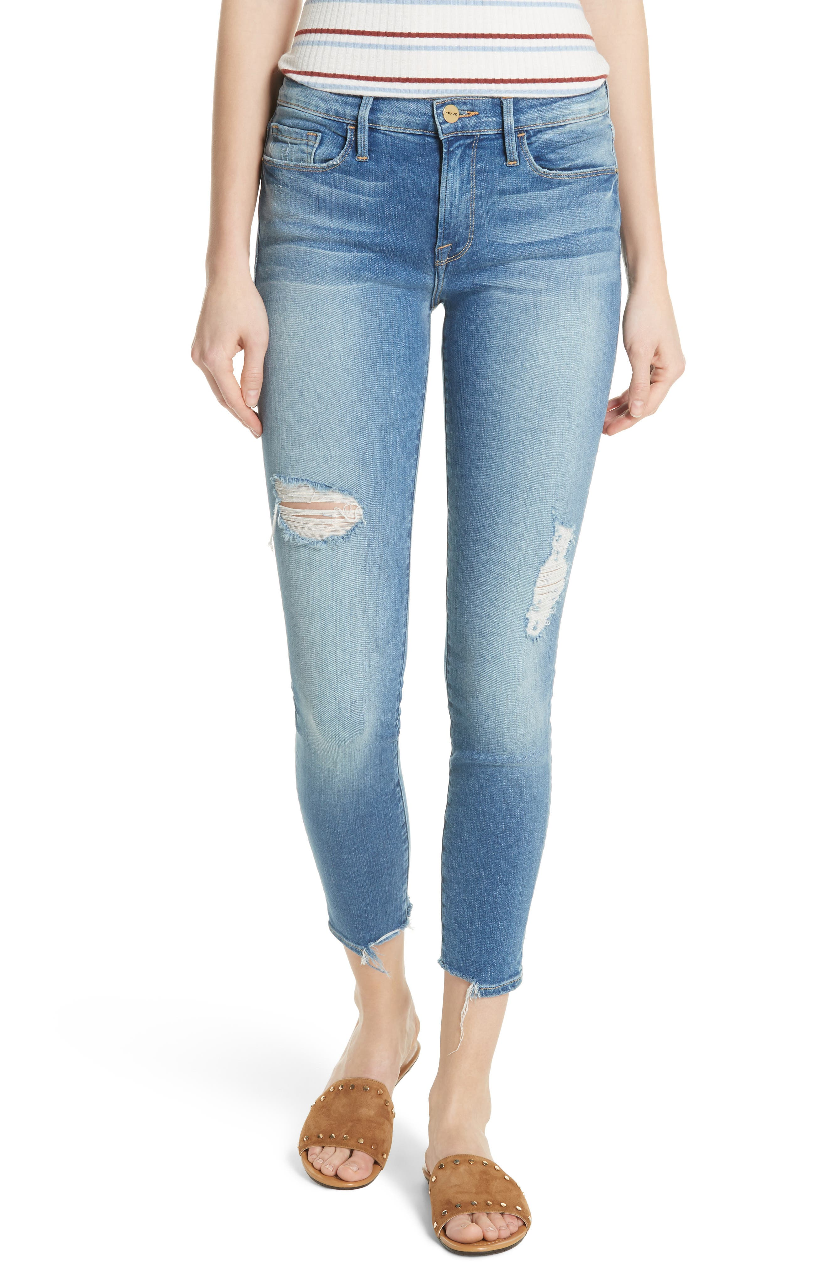 Le Skinny de Jeanne Crop Jeans,                             Main thumbnail 1, color,                             Timberland Exclusive