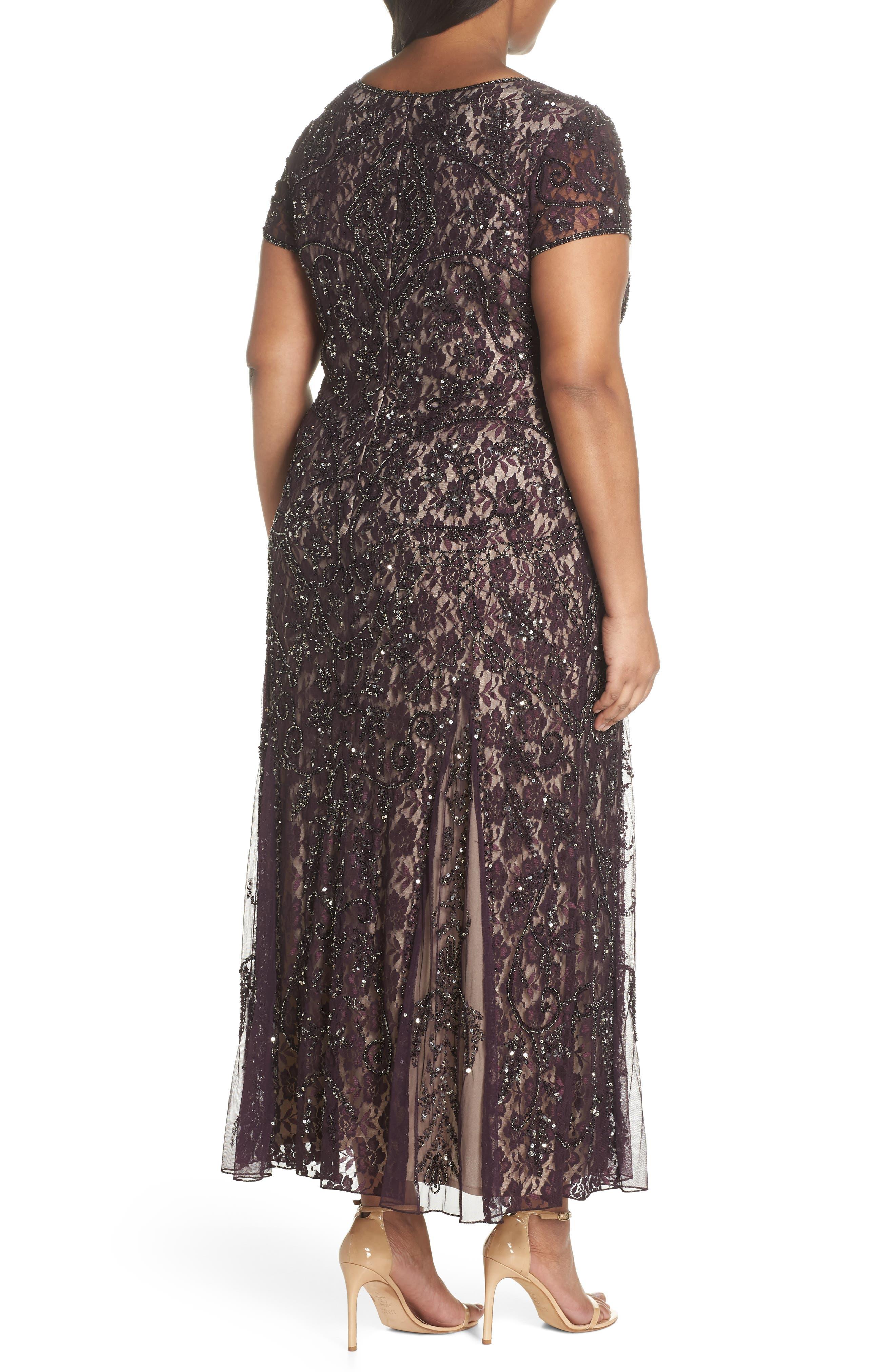 Embellished Lace A-Line Dress,                             Alternate thumbnail 2, color,                             Plum