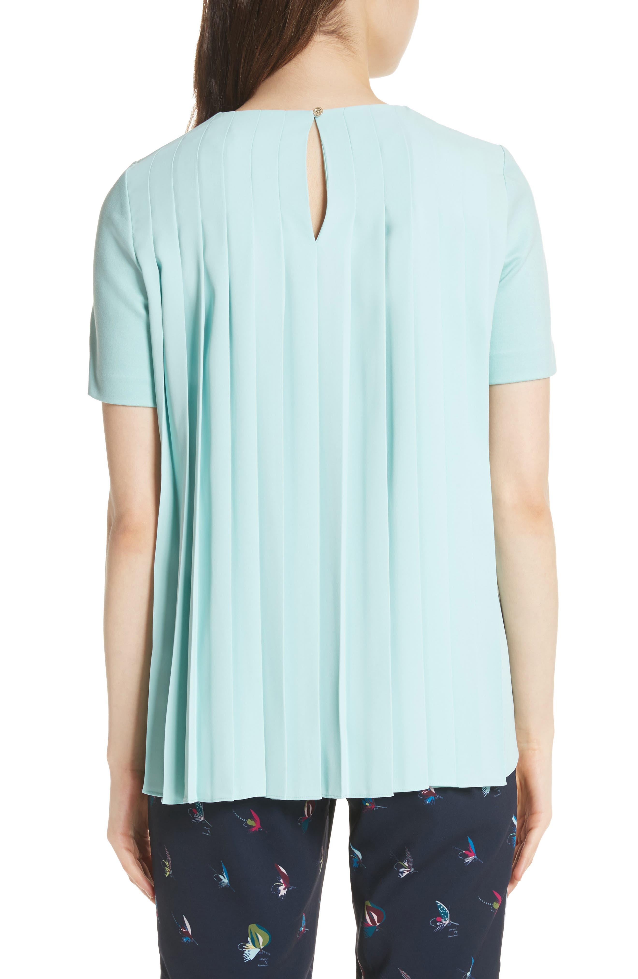 Colour by Numbers Naevaa Pleat Back Top,                             Alternate thumbnail 2, color,                             Mint