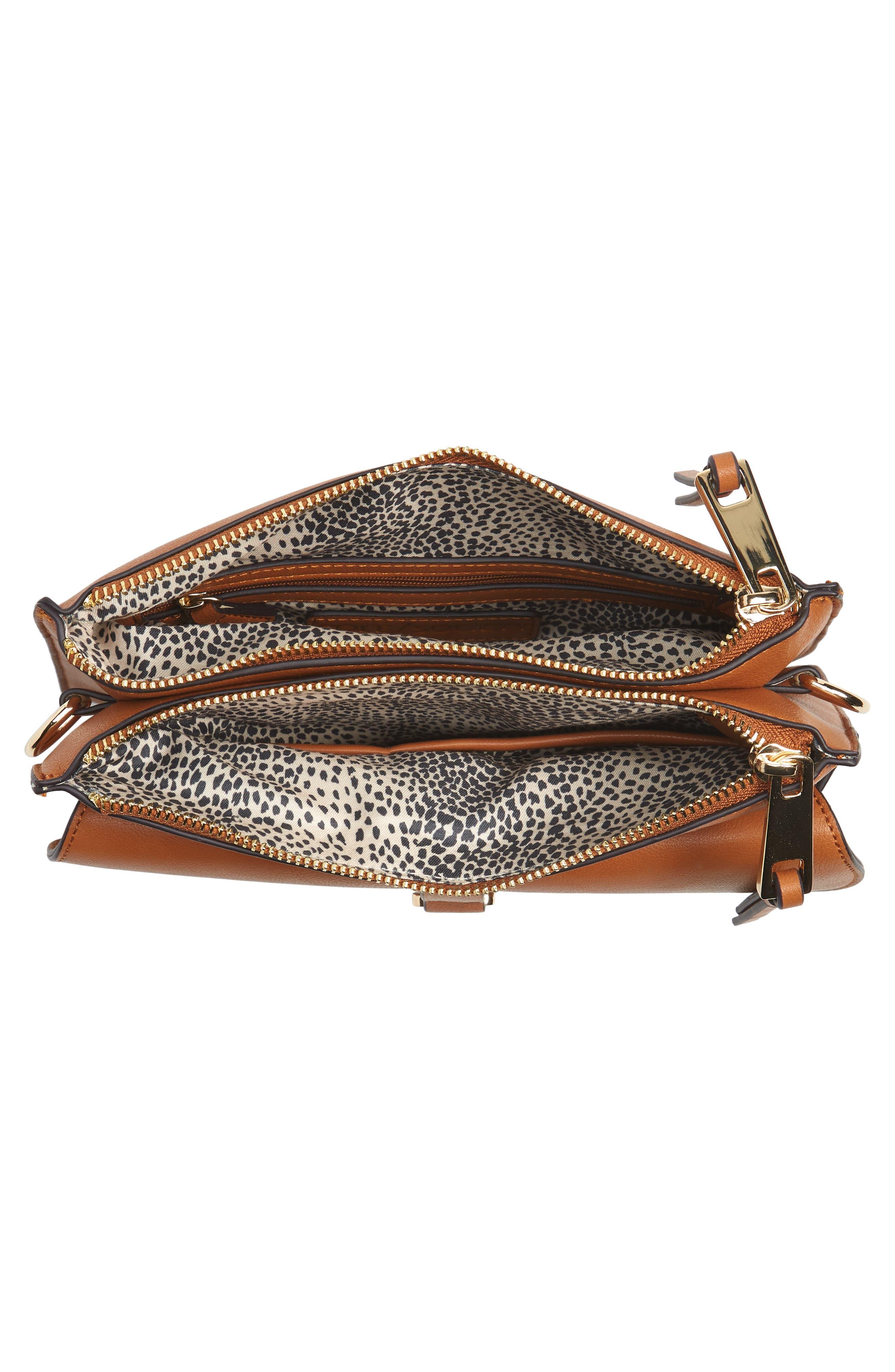 Front Pocket Faux Leather Crossbody Bag,                             Alternate thumbnail 4, color,                             Cognac