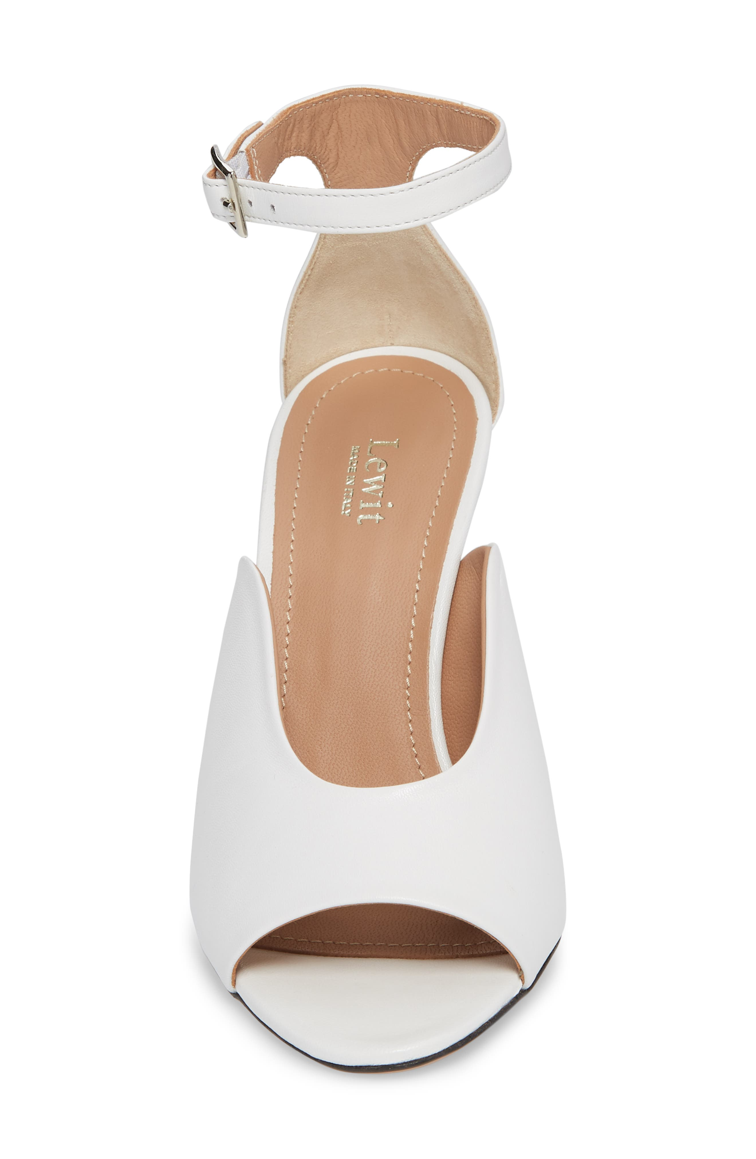Rosalia Halo Strap Sandal,                             Alternate thumbnail 4, color,                             White Leather