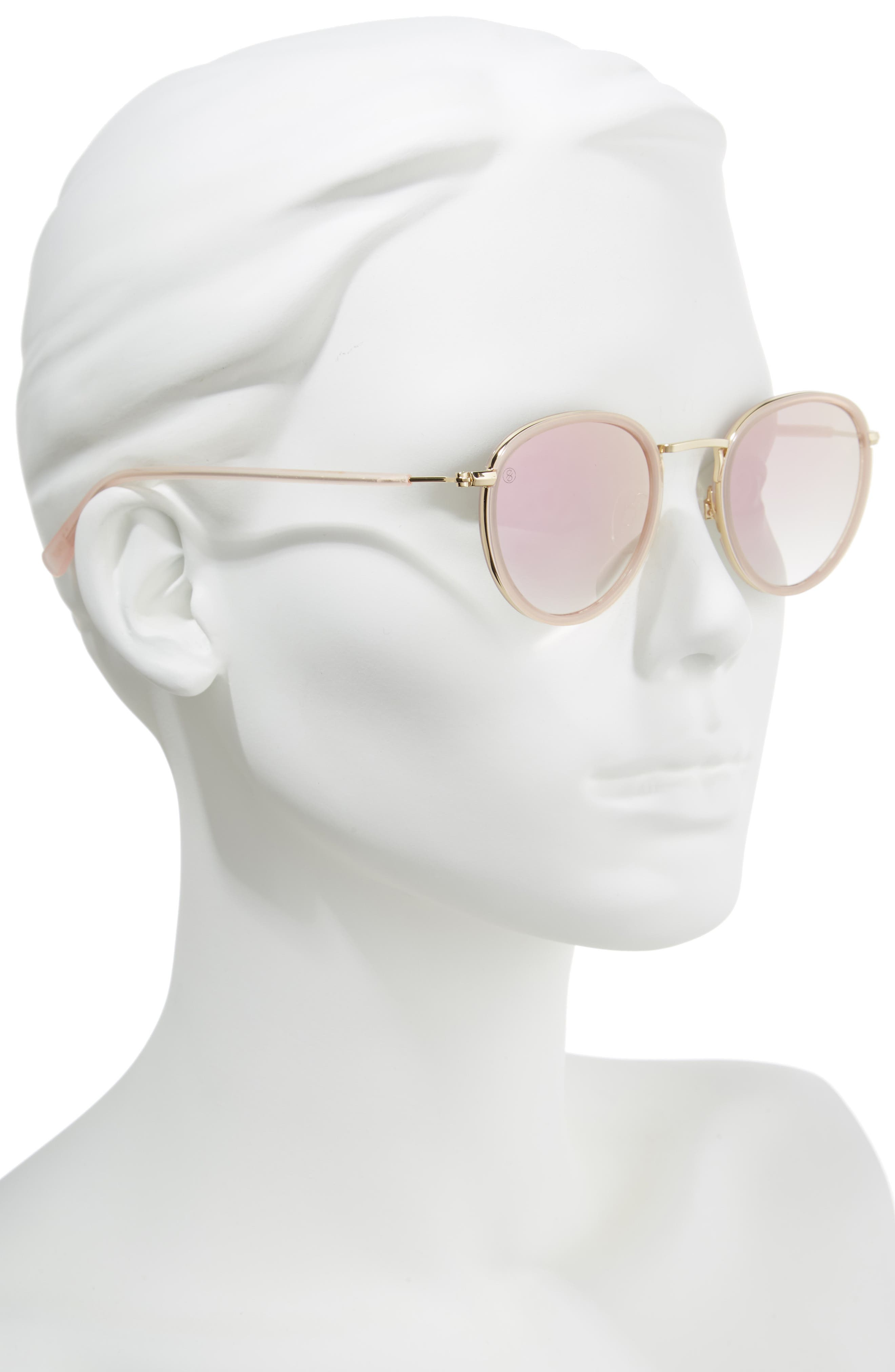 D'BLANC Prologue 48mm Round Sunglasses,                             Alternate thumbnail 2, color,                             Blush/ Rose Flash