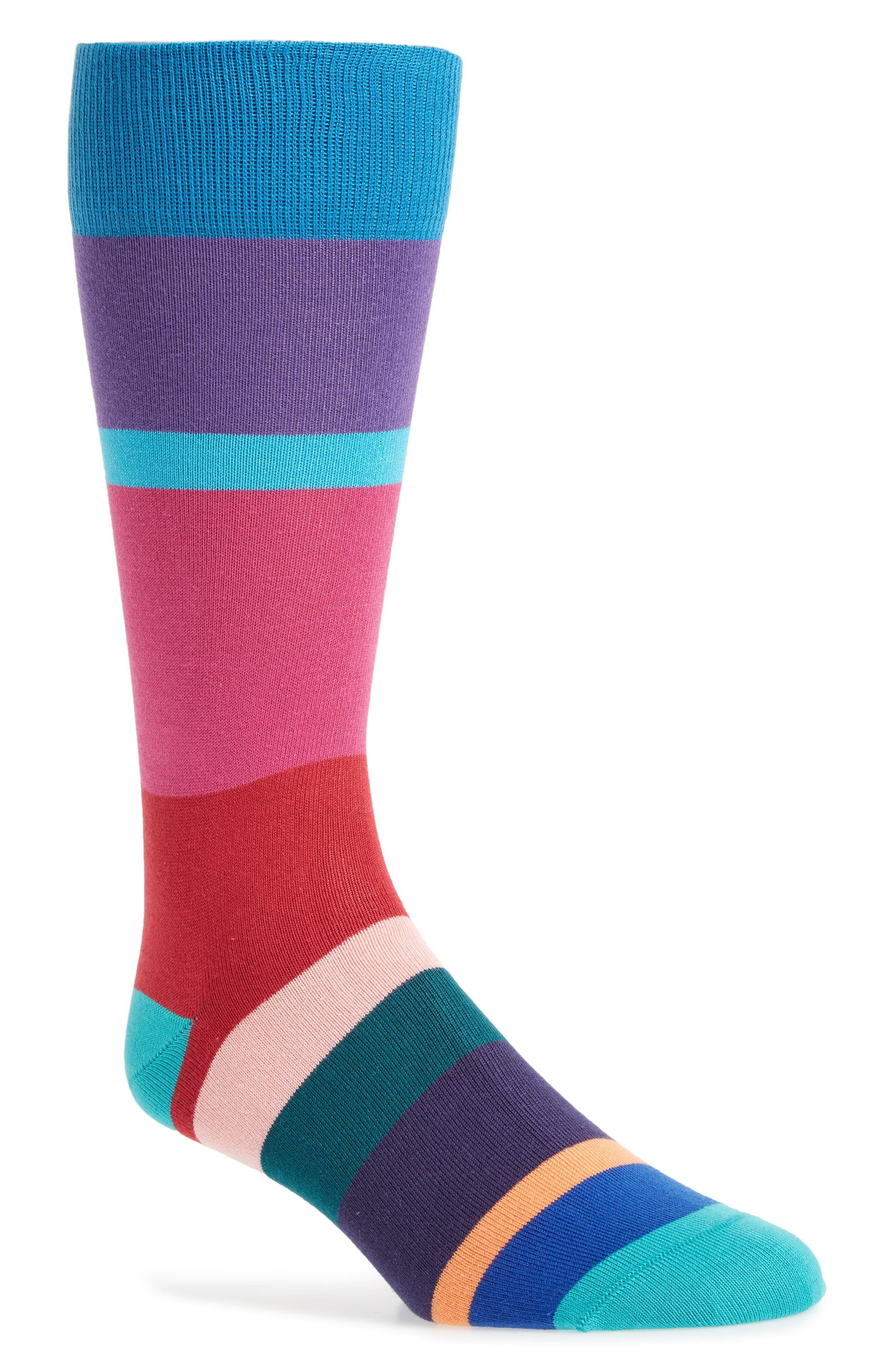 Jolly Colorblock Socks,                             Main thumbnail 1, color,                             Green/ Blue Multi