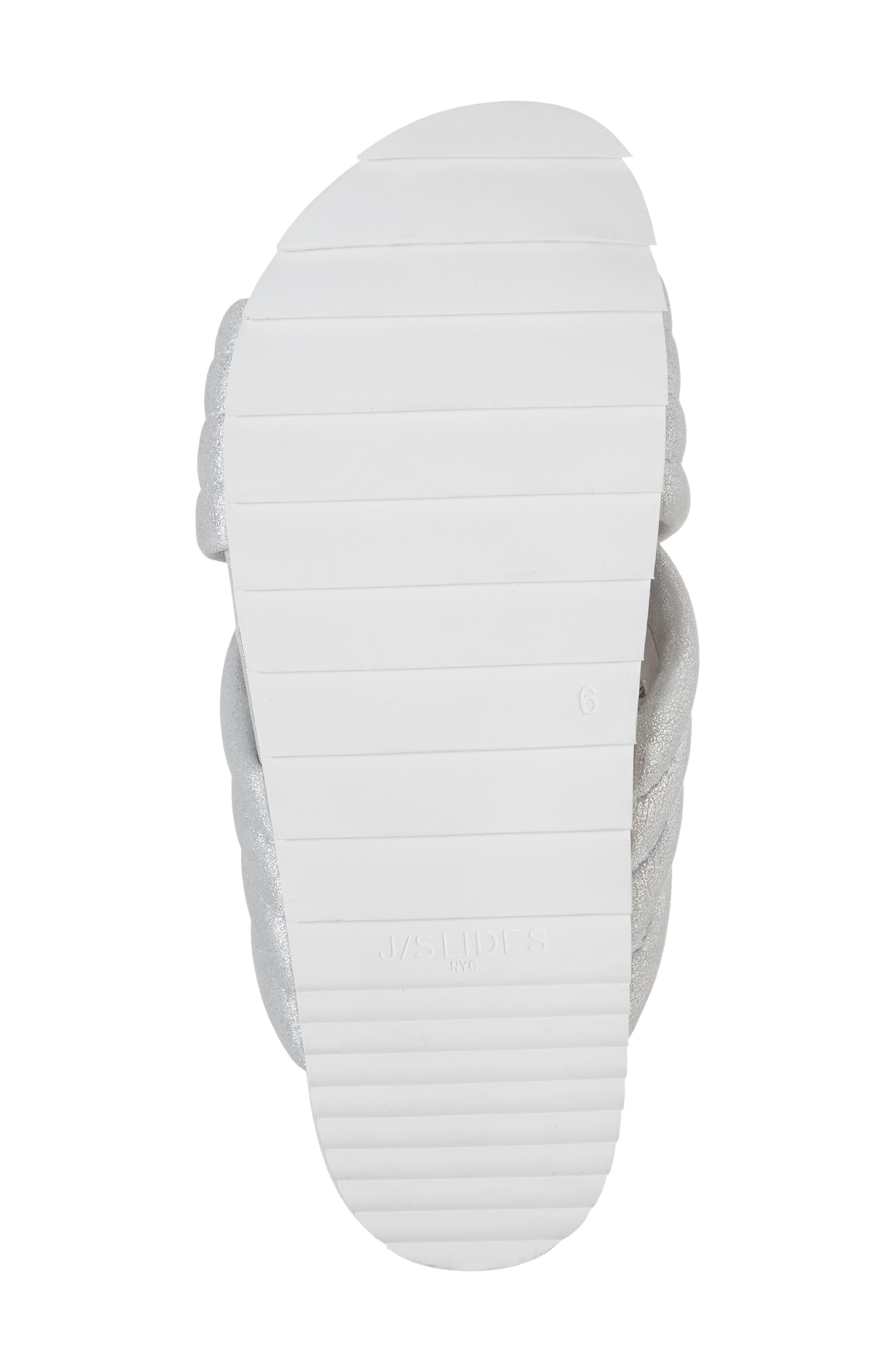 Crisscross Slide Sandal,                             Alternate thumbnail 6, color,                             Silver Metallic Leather