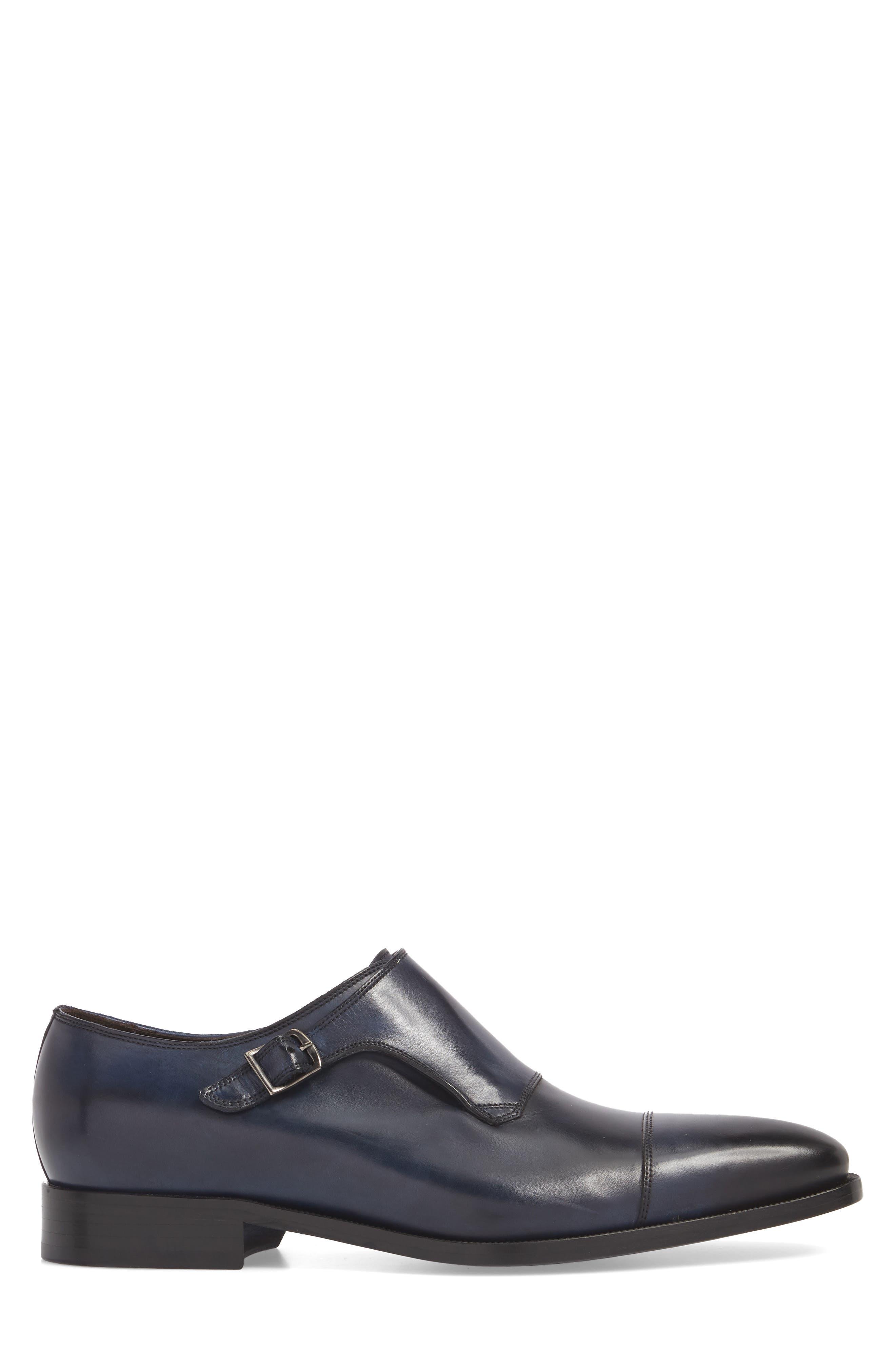 Ludlum Cap Toe Monk Shoe,                             Alternate thumbnail 3, color,                             Blue Leather