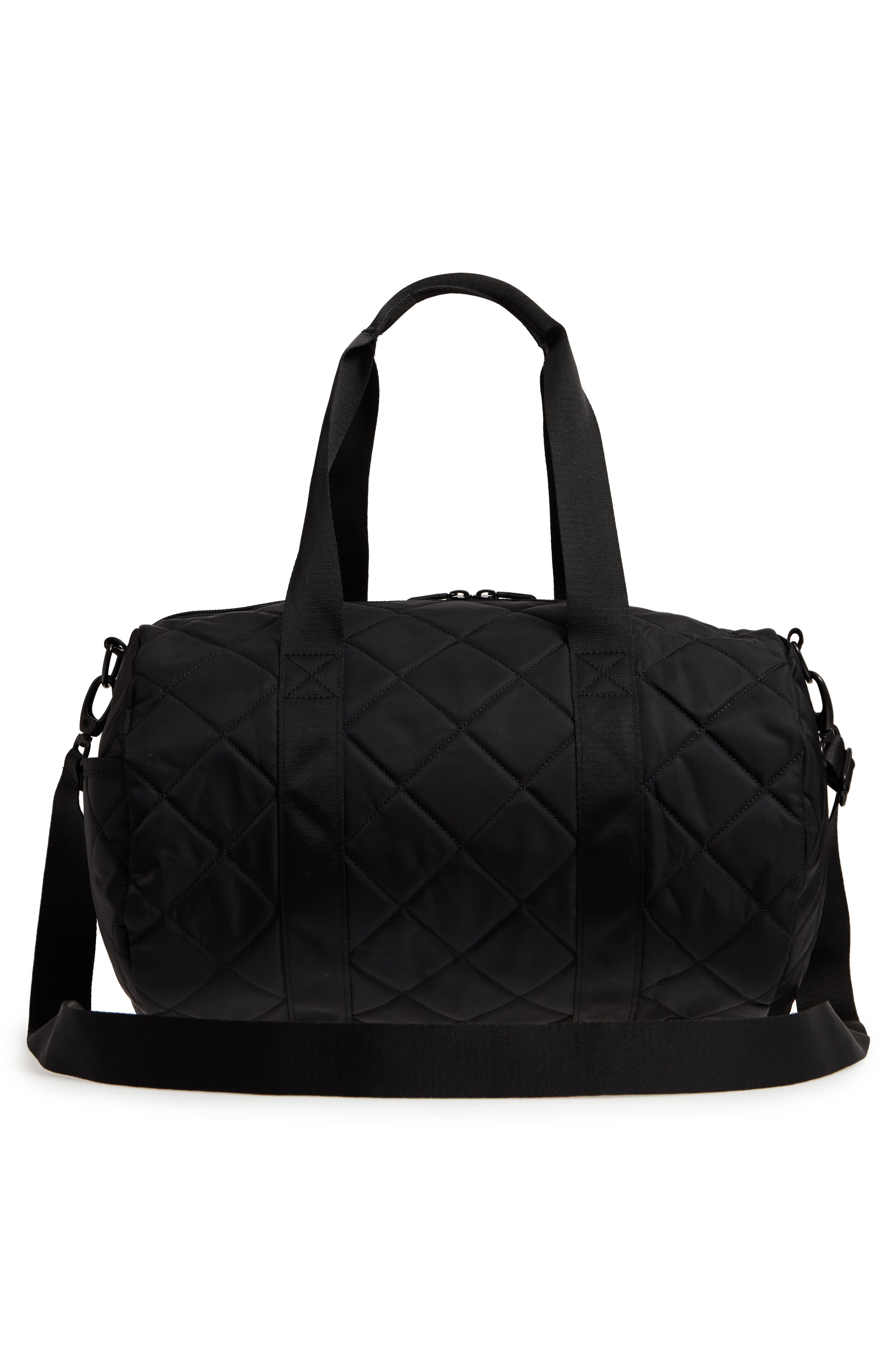 Roadie Small Duffel Bag,                             Alternate thumbnail 3, color,                             Quilted Black Nylon