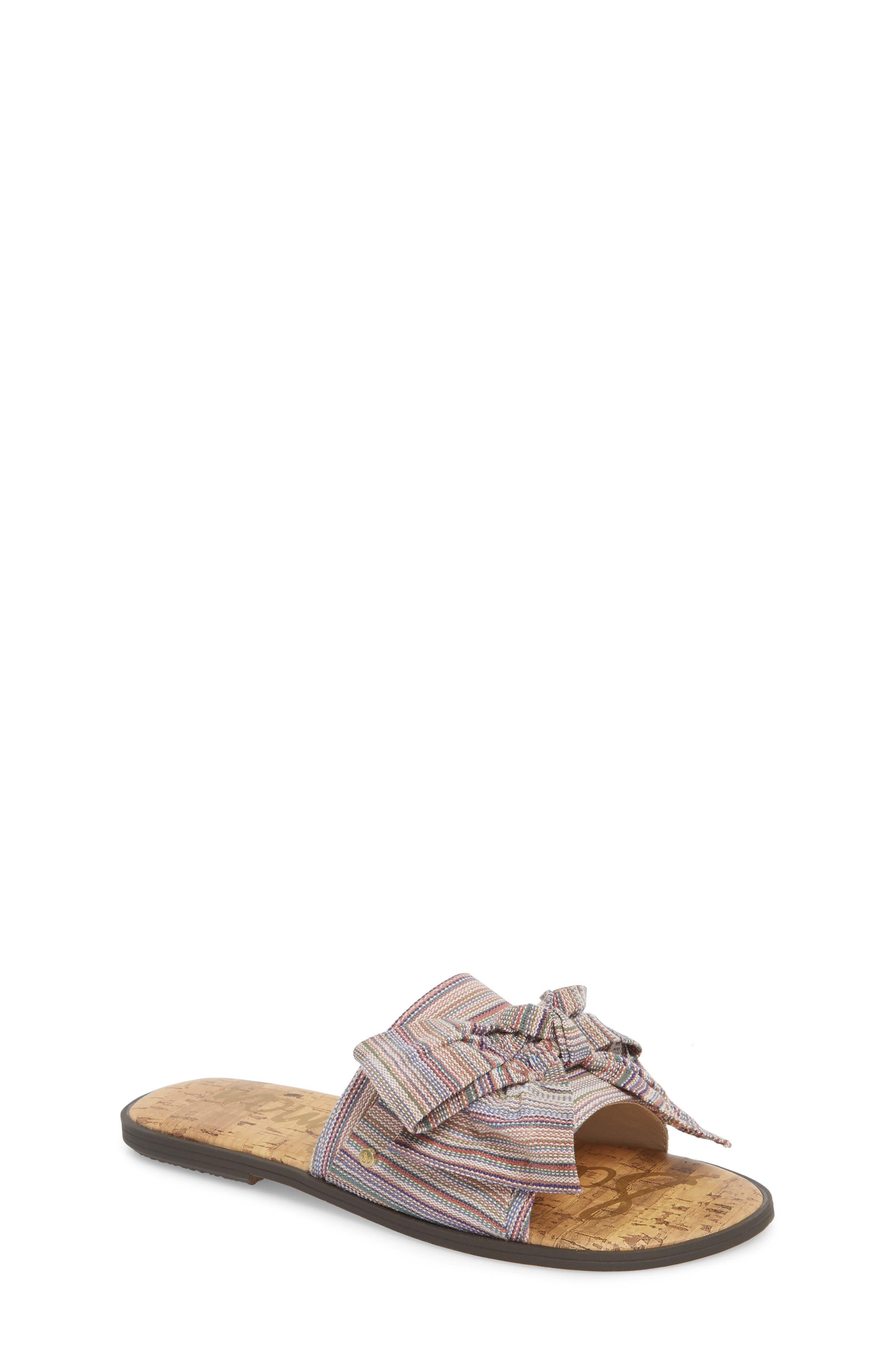 Gigi Bow Faux Leather Sandal,                             Main thumbnail 1, color,                             Tan Multi Fabric