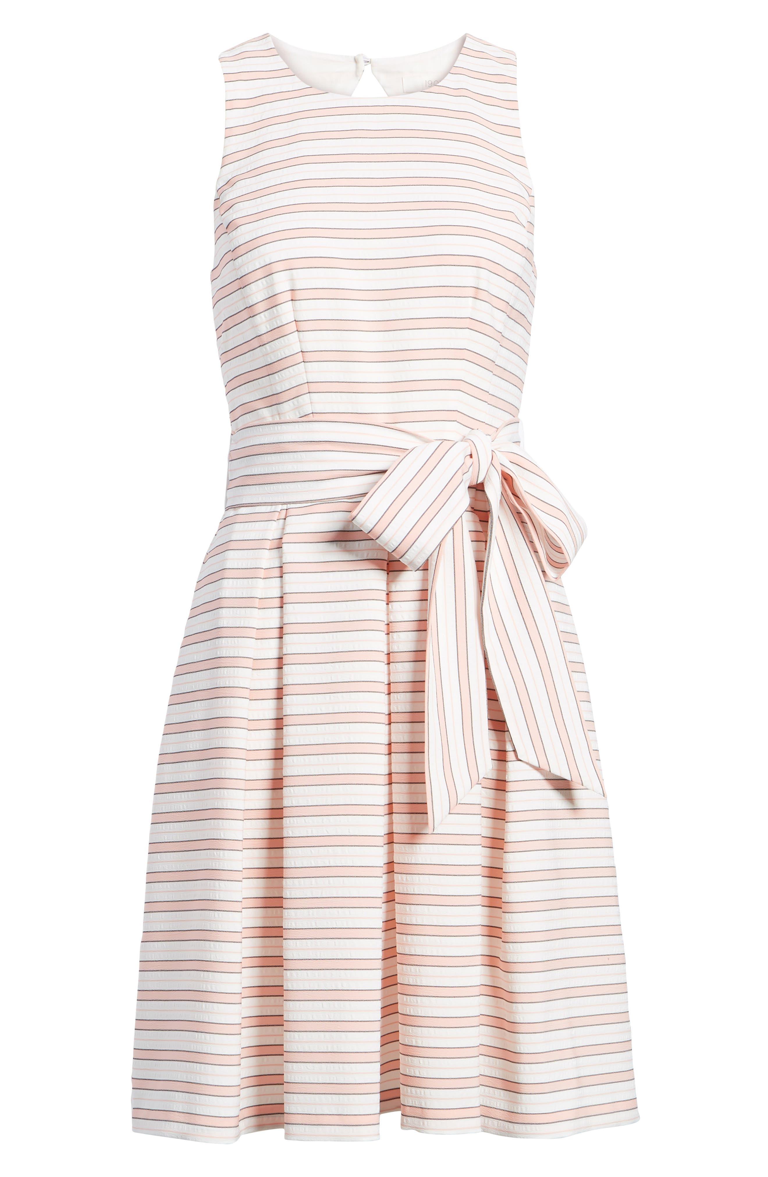 Stripe Tie Waist Dress,                             Alternate thumbnail 7, color,                             Pink Stripe