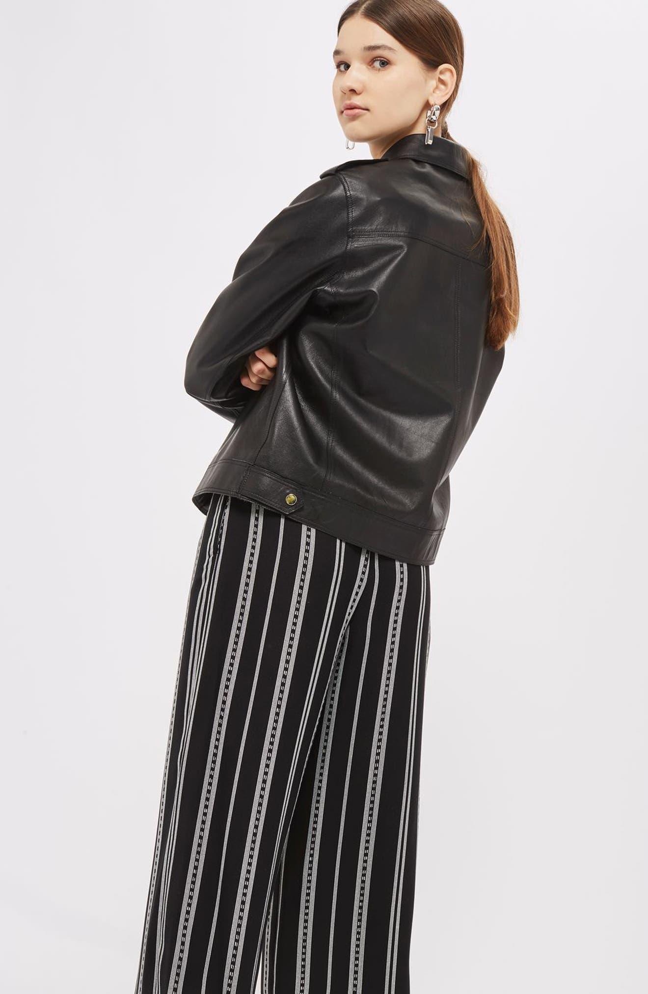 Crop Wide Leg Stripe Trousers,                             Alternate thumbnail 2, color,                             Black Multi