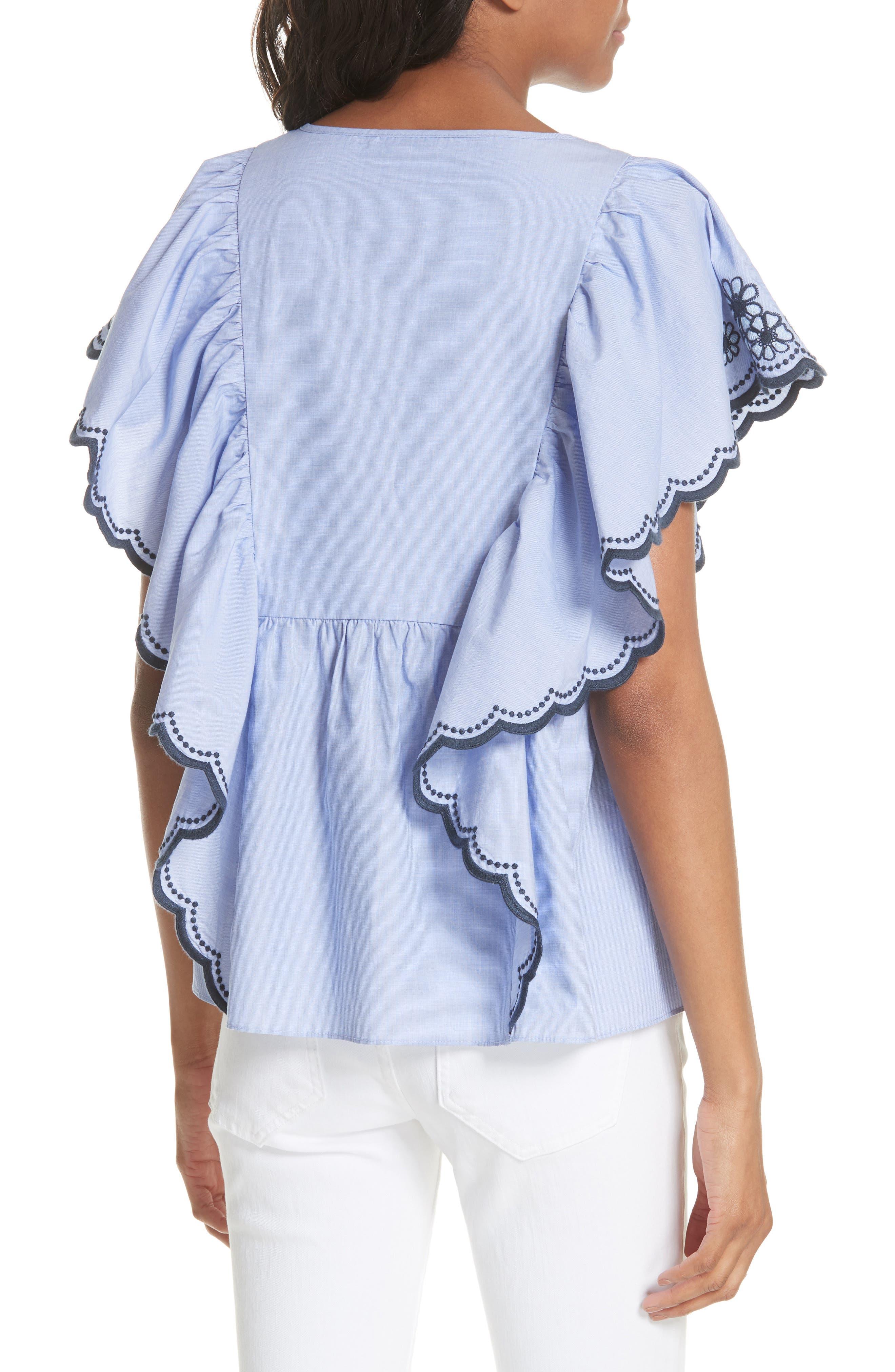 daisy embroidered cotton top,                             Alternate thumbnail 2, color,                             Ensemble Blue