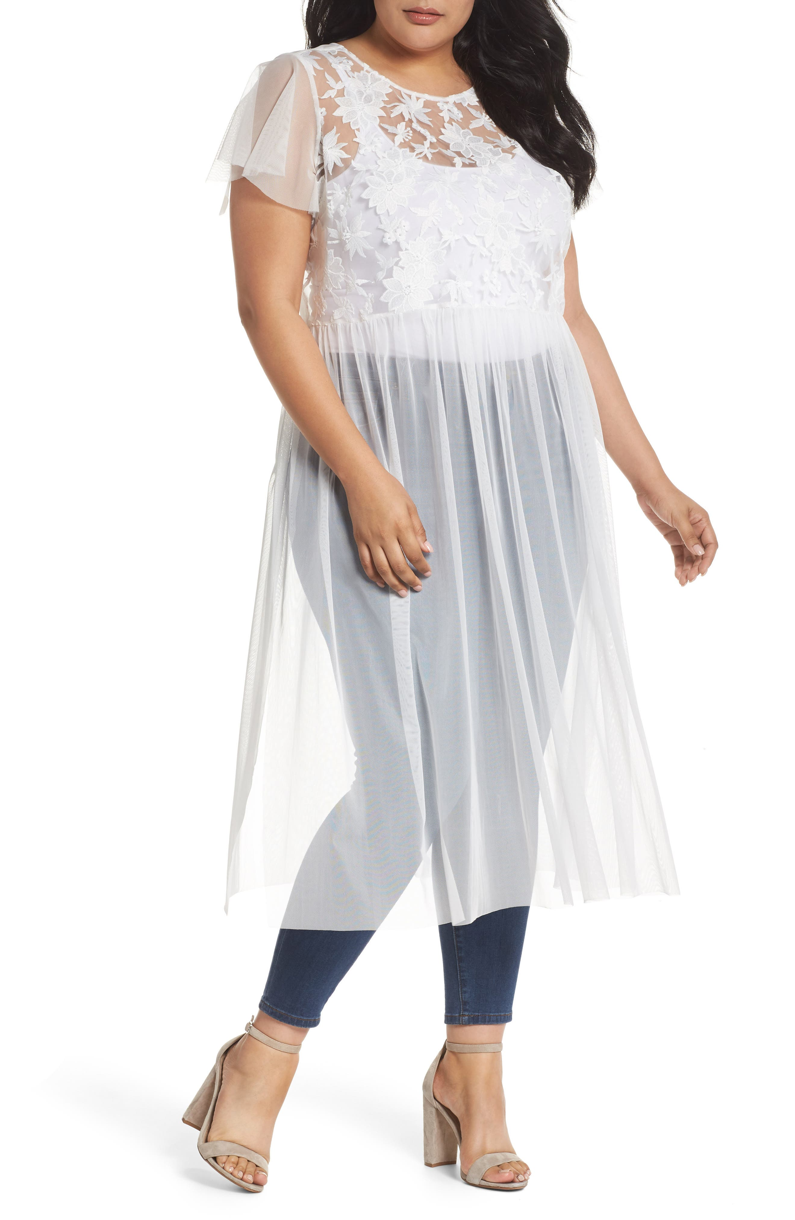 Flutter Sleeve Embroidered Mesh Tunic,                         Main,                         color, Ultra White