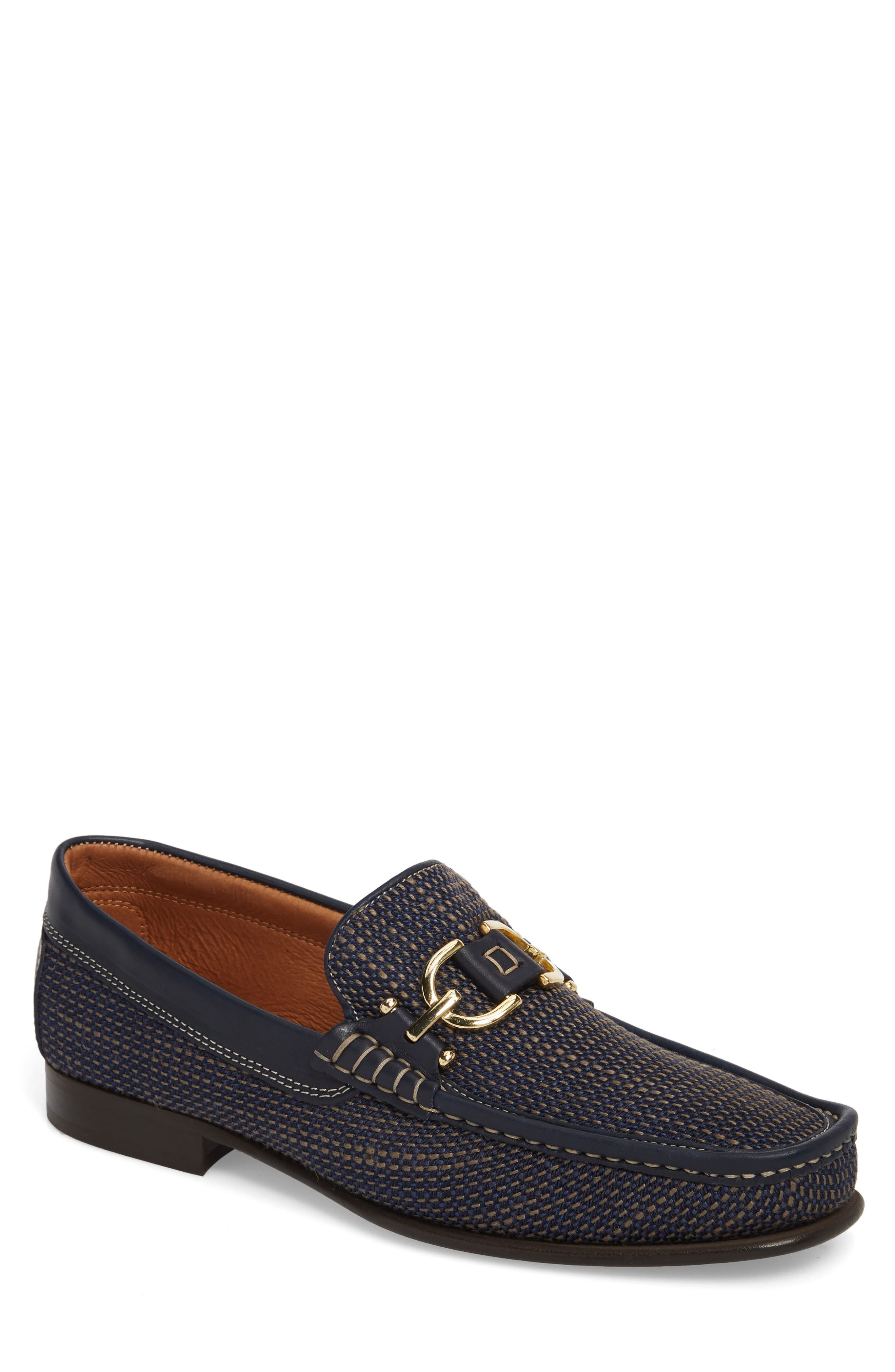 Dacio Woven Bit Loafer,                             Main thumbnail 1, color,                             Navy Leather