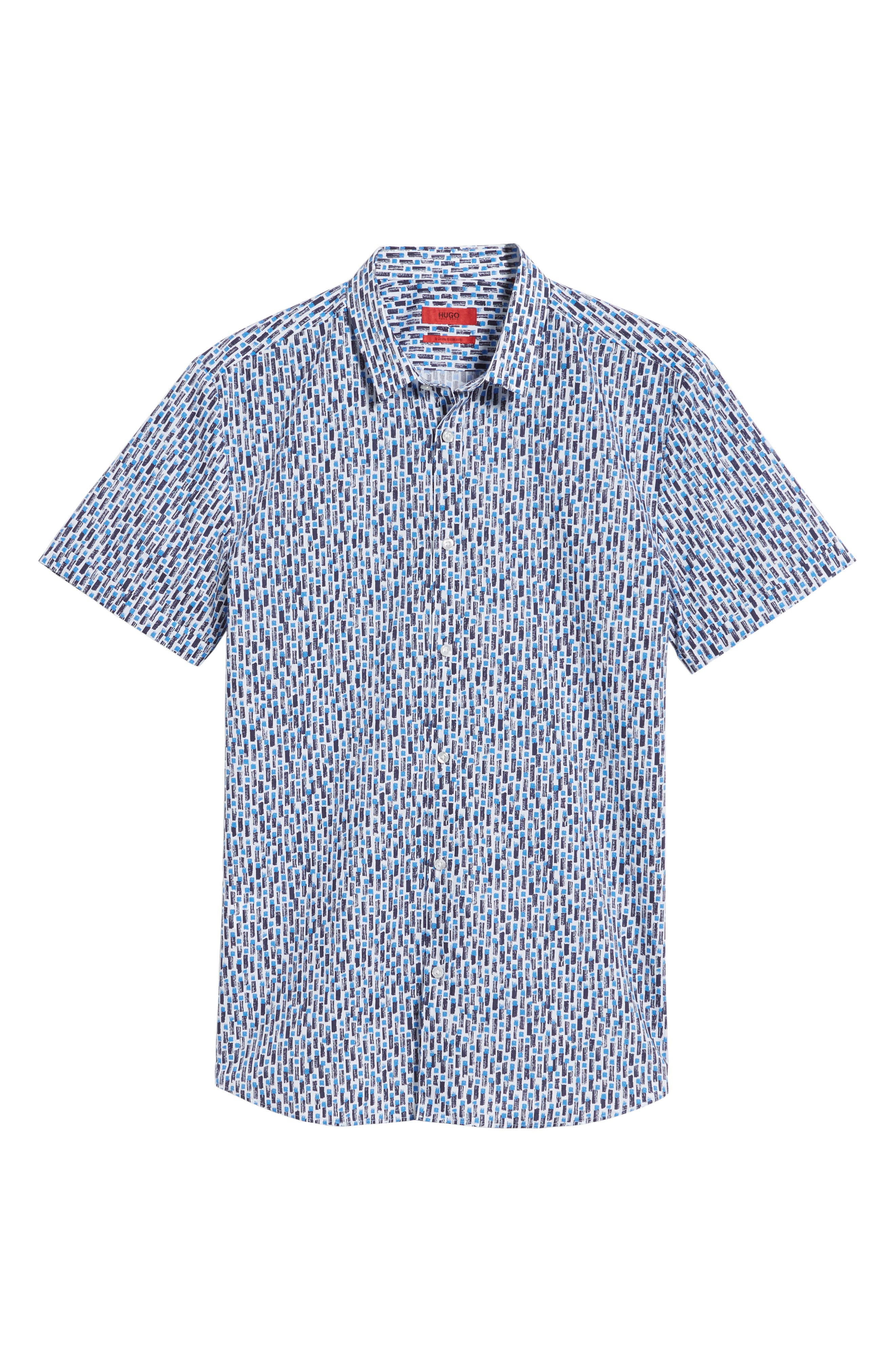 Empson Trim Fit Print Short Sleeve Sport Shirt,                             Alternate thumbnail 6, color,                             Blue