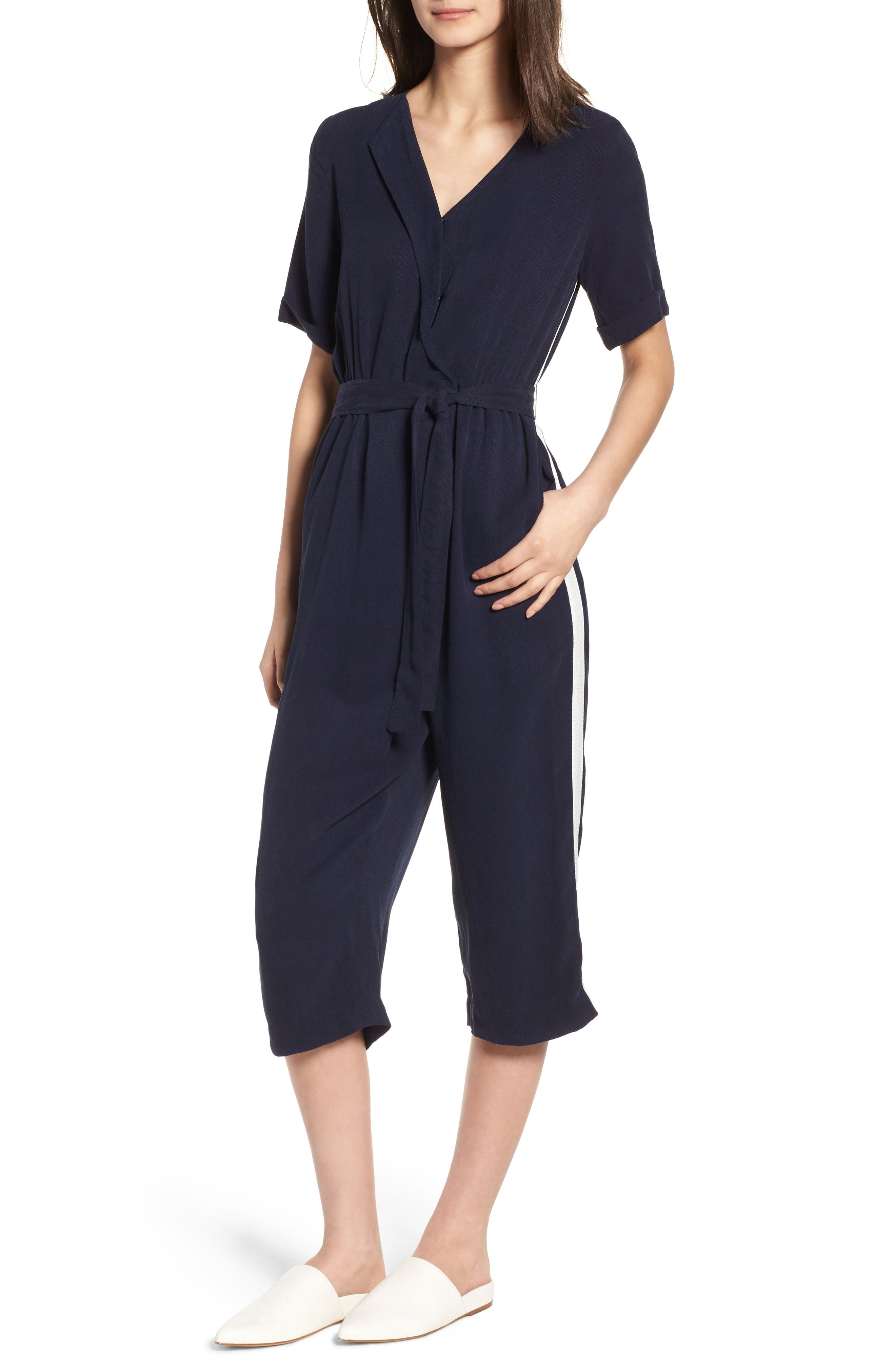 Downstairs Crop Jumpsuit,                         Main,                         color, Navy