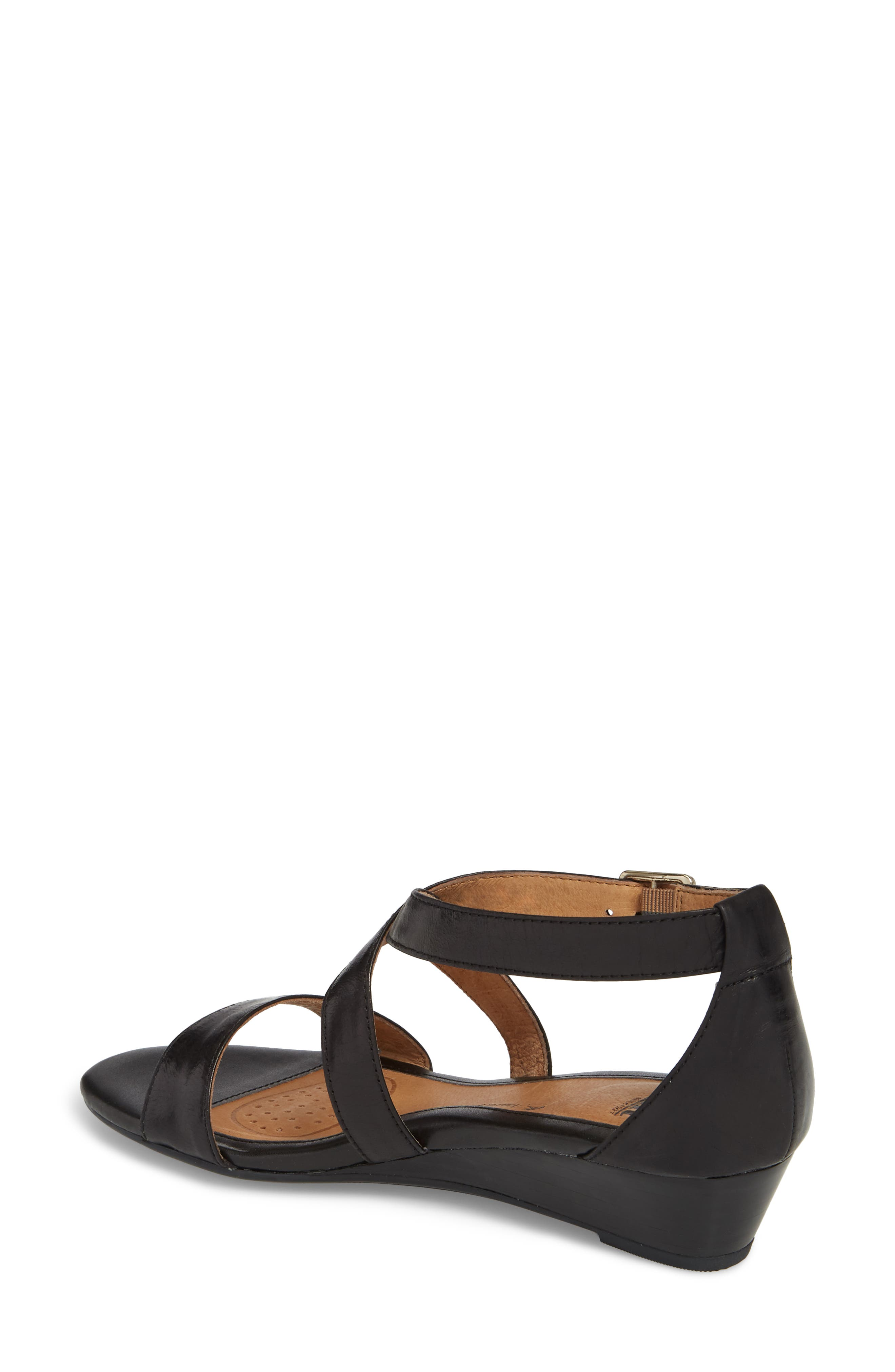 'Innis' Low Wedge Sandal,                             Alternate thumbnail 2, color,                             Black Leather