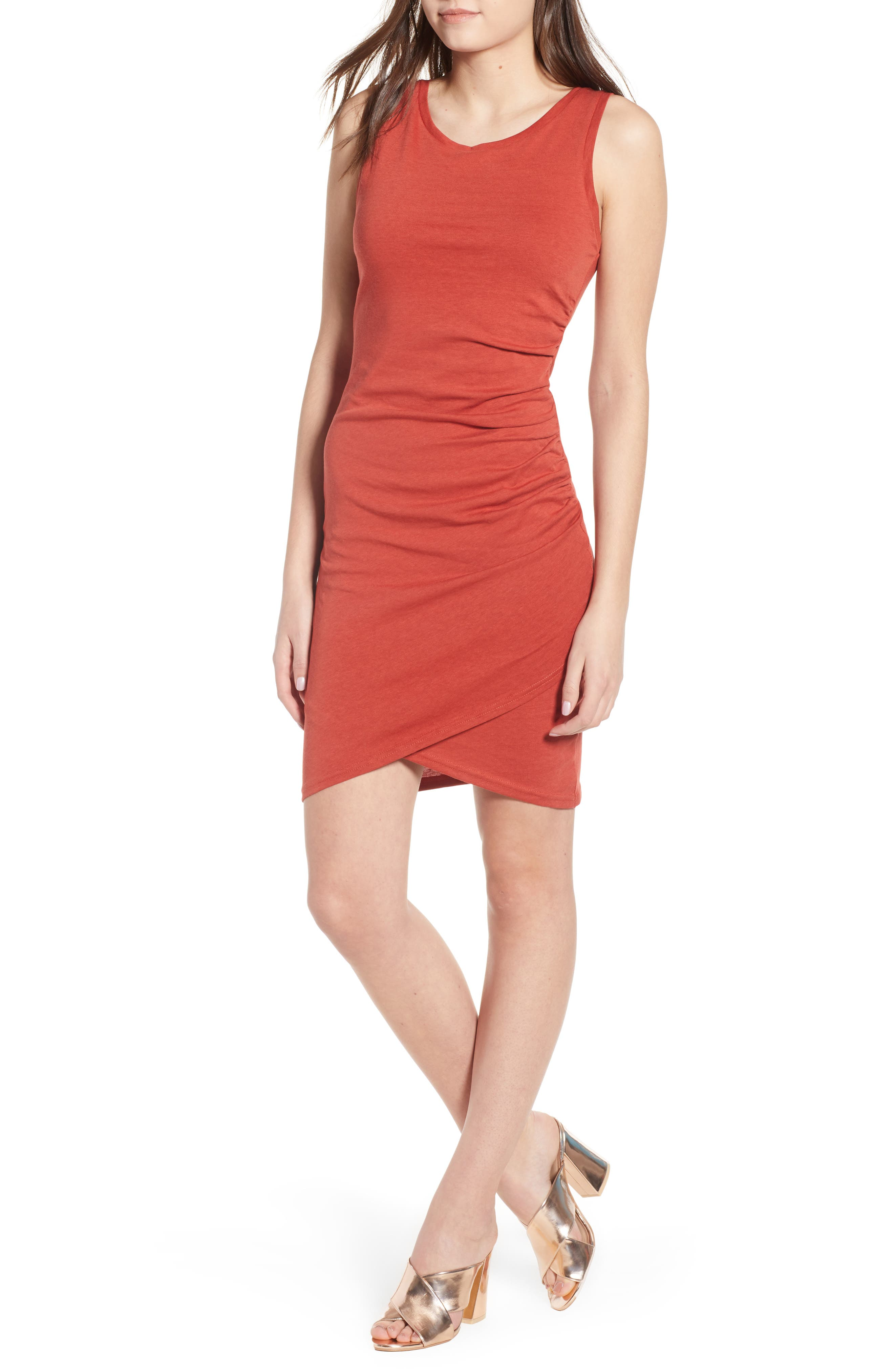 Ruched Body-Con Tank Dress,                             Main thumbnail 1, color,                             Rust Bossa Nova