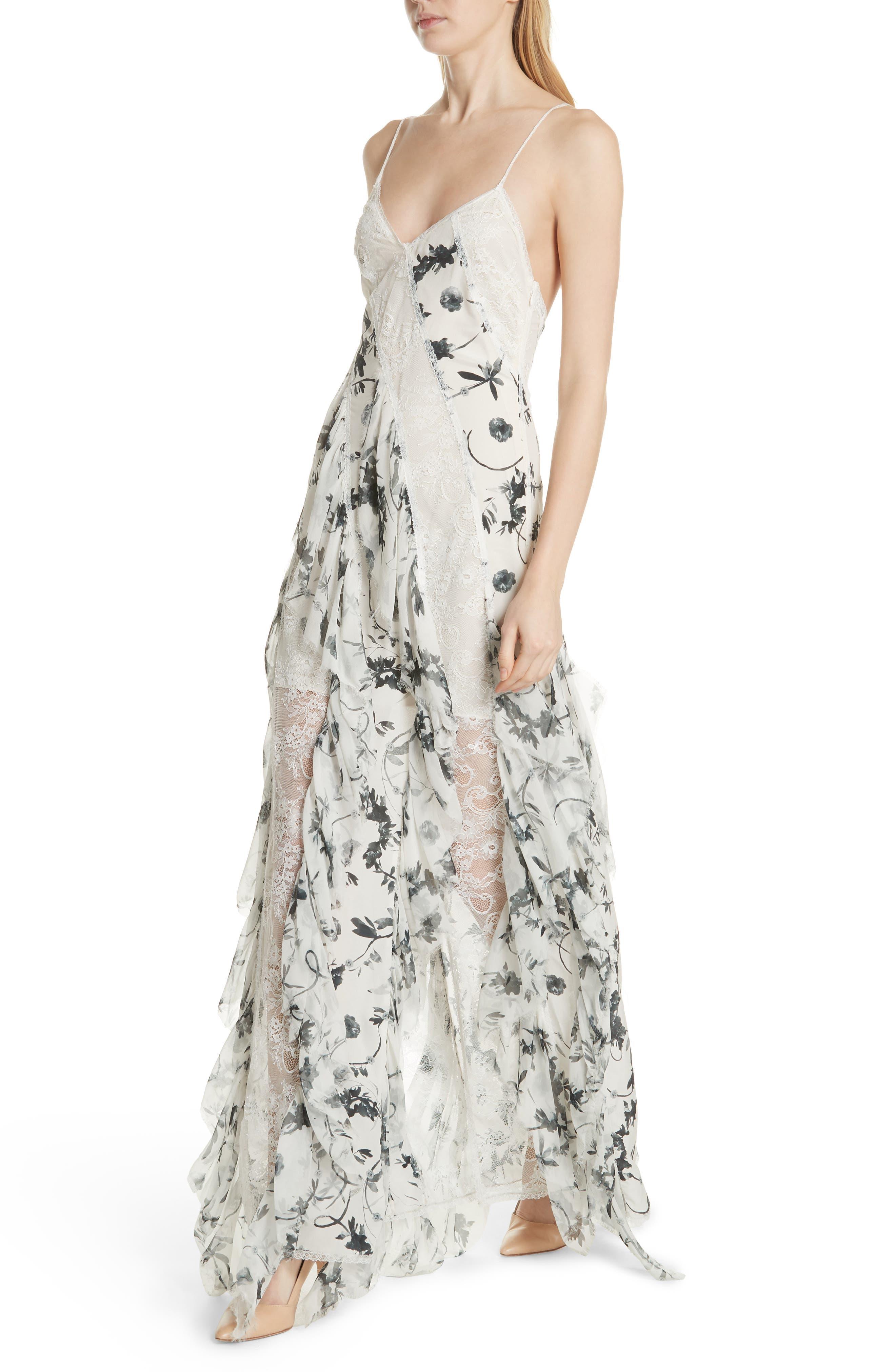 Jayda Godet Lace Inset Silk Maxi Dress,                             Alternate thumbnail 4, color,                             Floral Crown