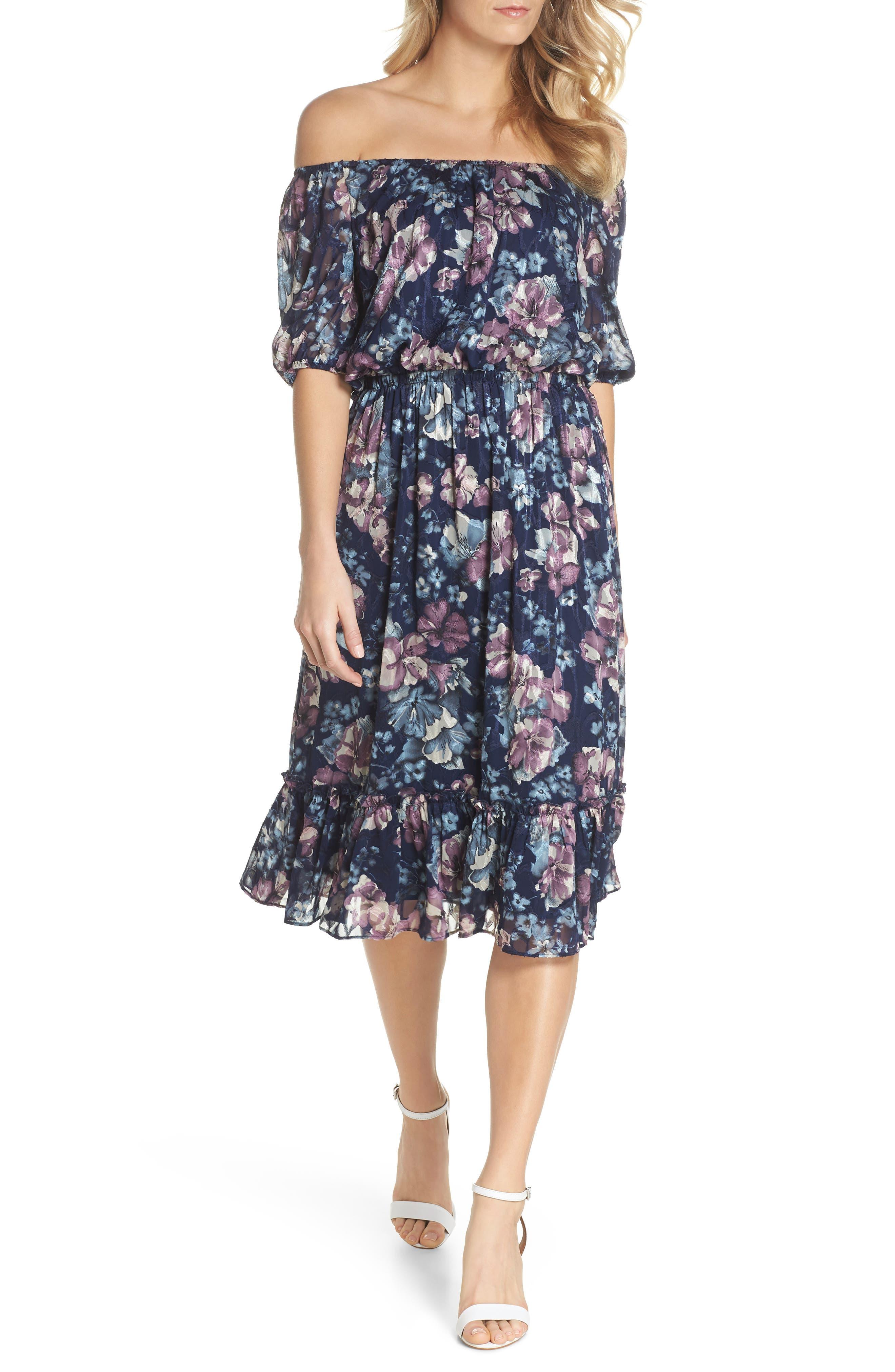 Floral Burnout Off the Shoulder Blouson Dress,                         Main,                         color, Navy Multi