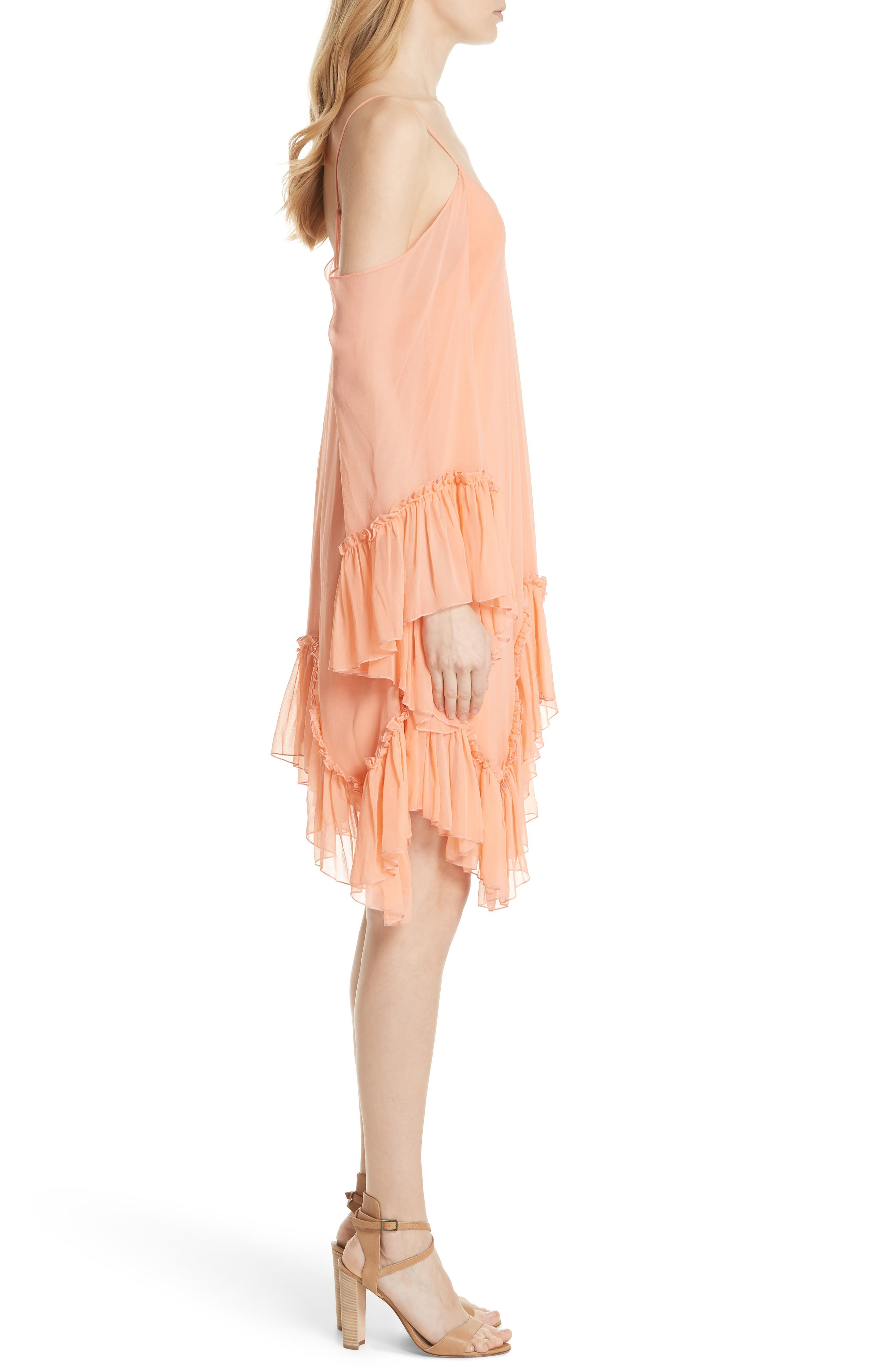 Ilaria Ruffle Cold Shoulder Silk Dress,                             Alternate thumbnail 3, color,                             Peach