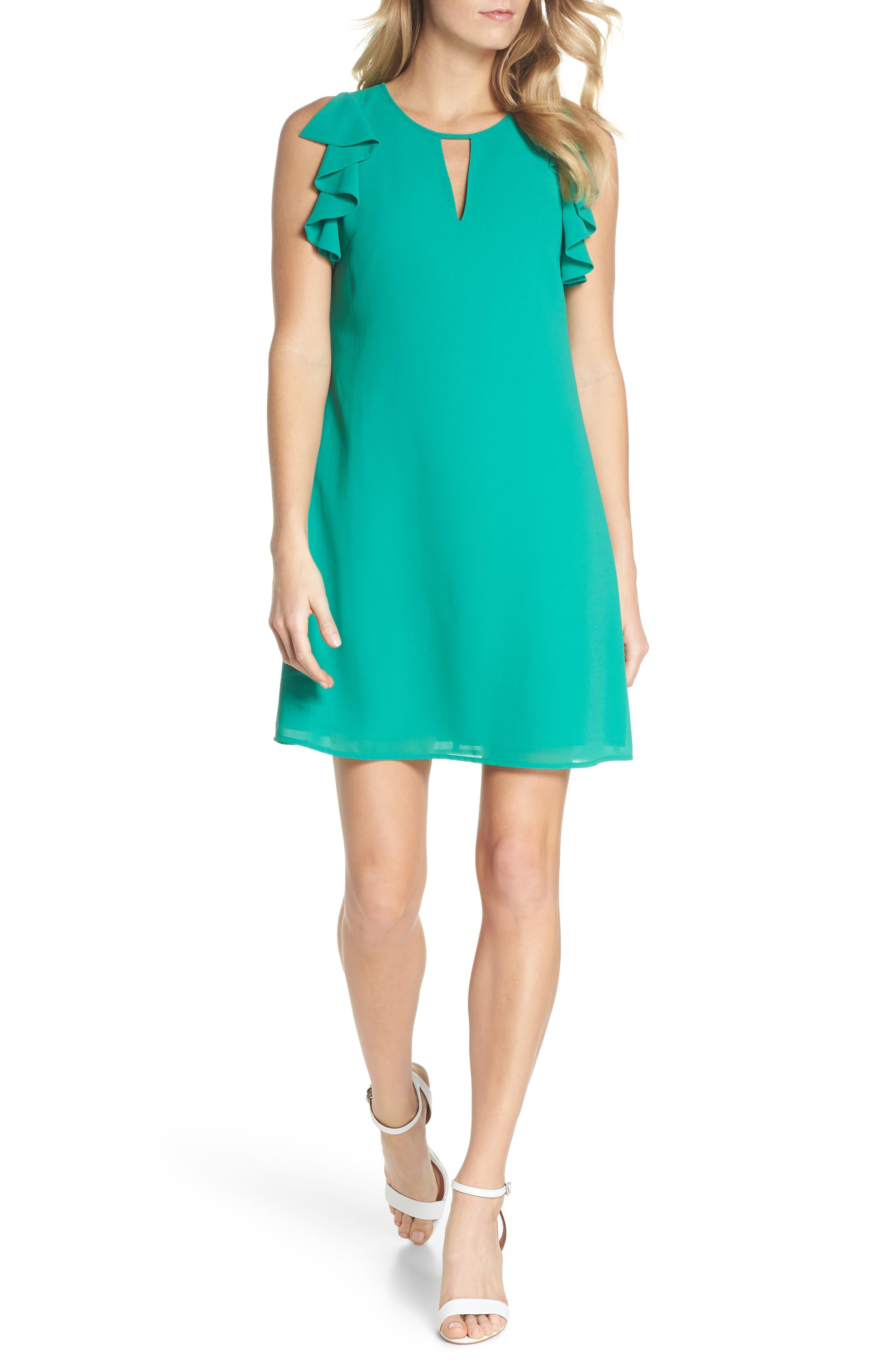 Soufflé Ruffle Chiffon Shift Dress,                             Main thumbnail 1, color,                             Green