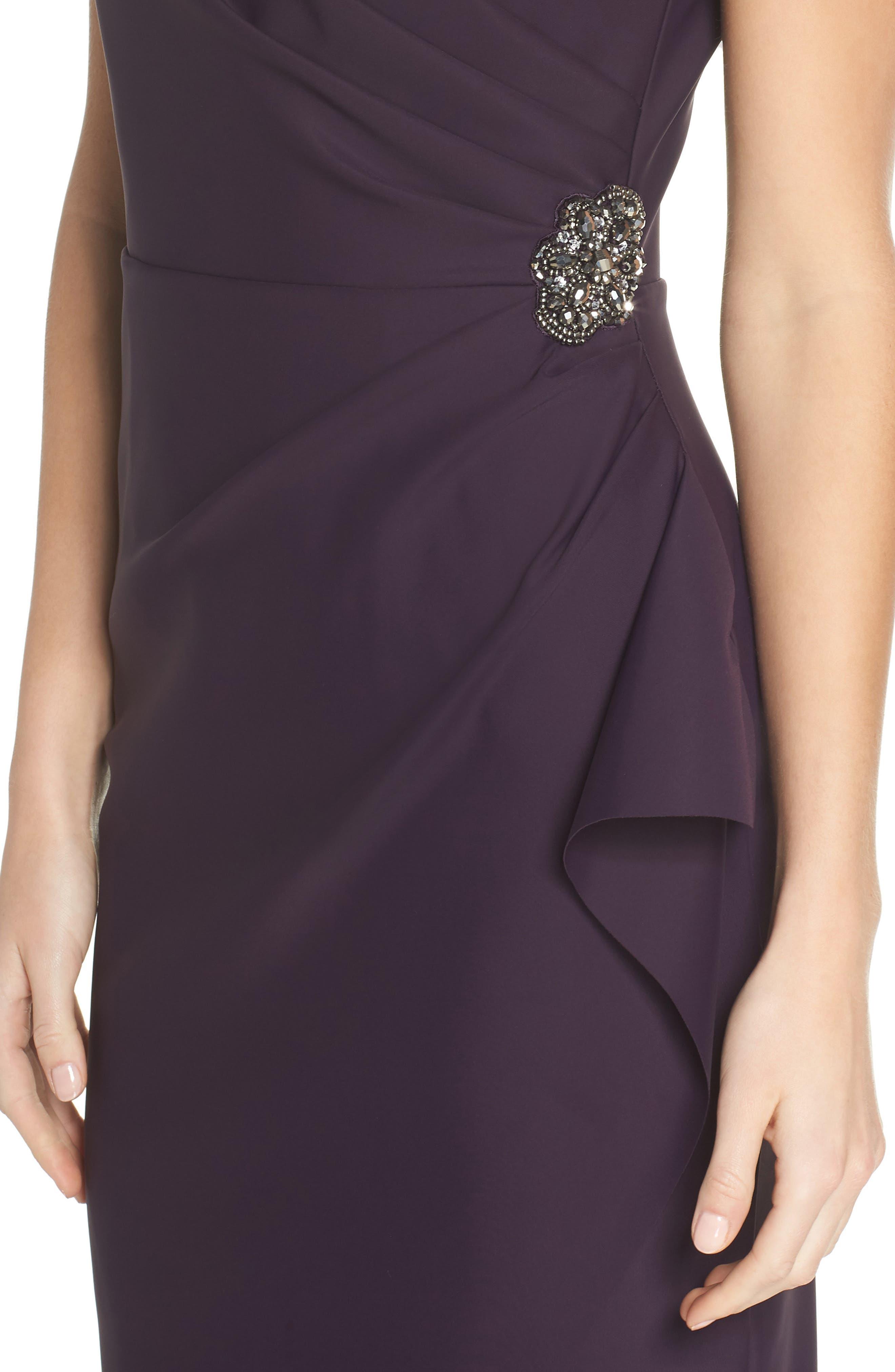 Embellished Side Drape Column Gown,                             Alternate thumbnail 4, color,                             Aubergine