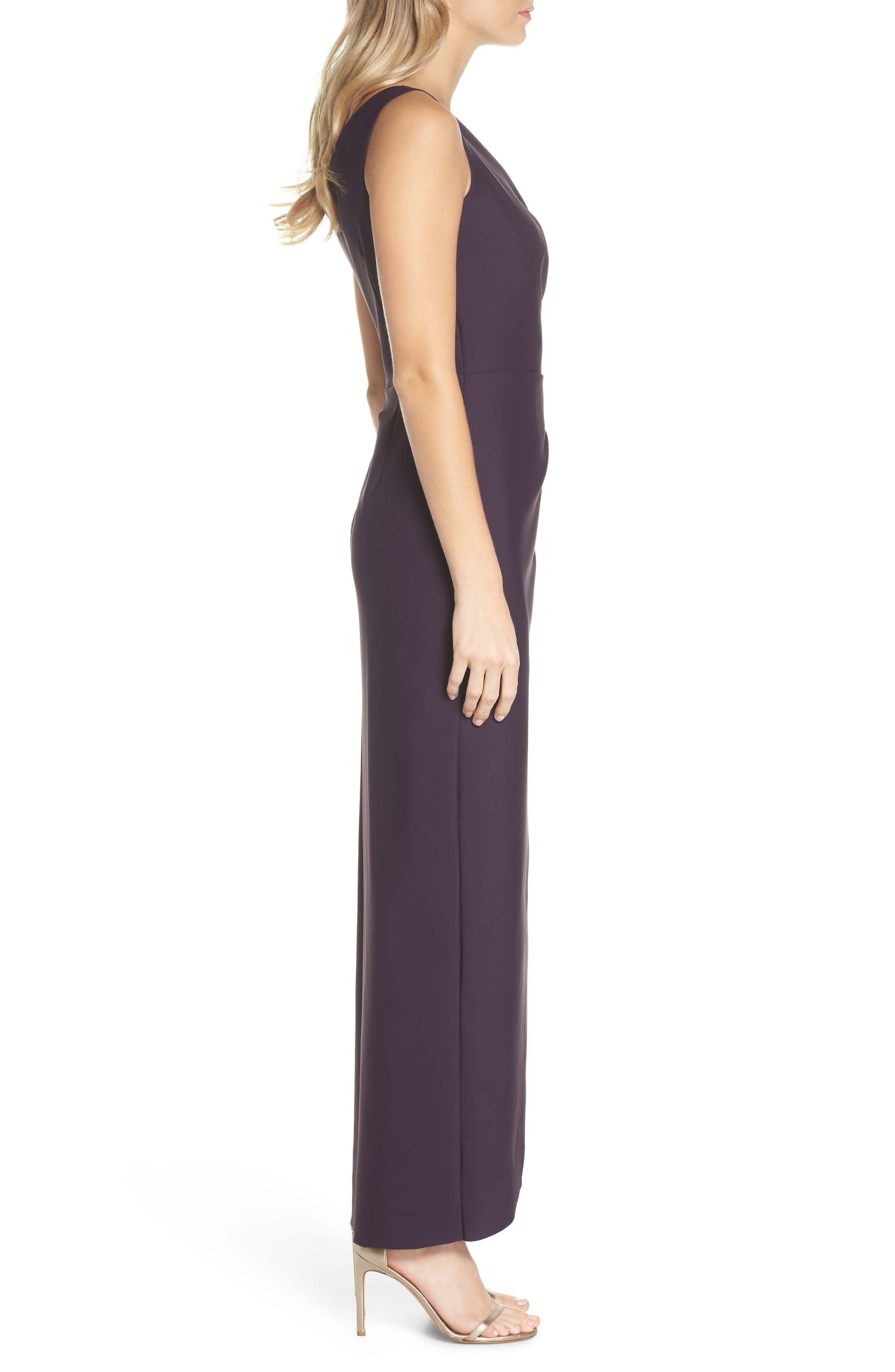 Embellished Side Drape Column Gown,                             Alternate thumbnail 3, color,                             Aubergine