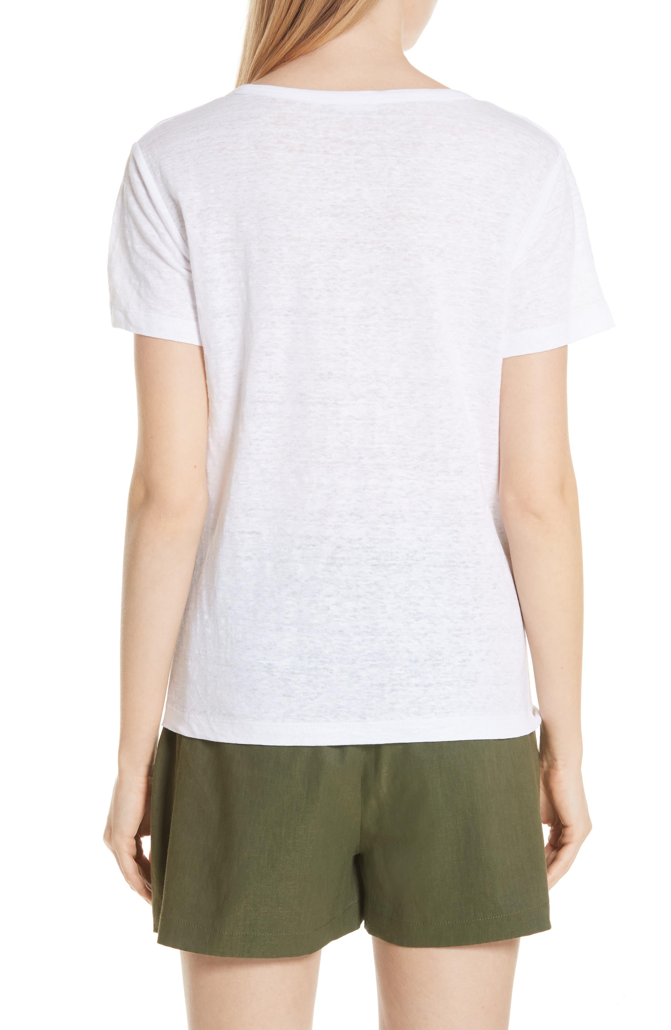 Linen Short Sleeve Top,                             Alternate thumbnail 2, color,                             Optic White