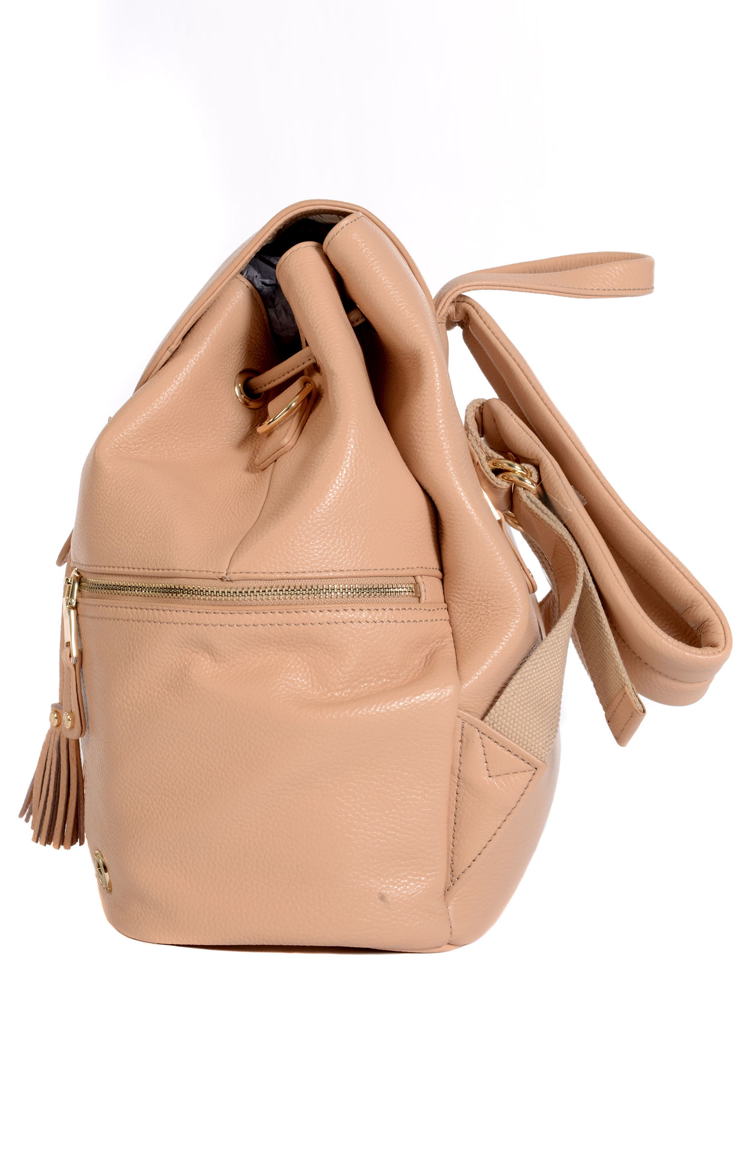 Thor Leather Backpack,                             Alternate thumbnail 4, color,                             Nude With Gold Hardware