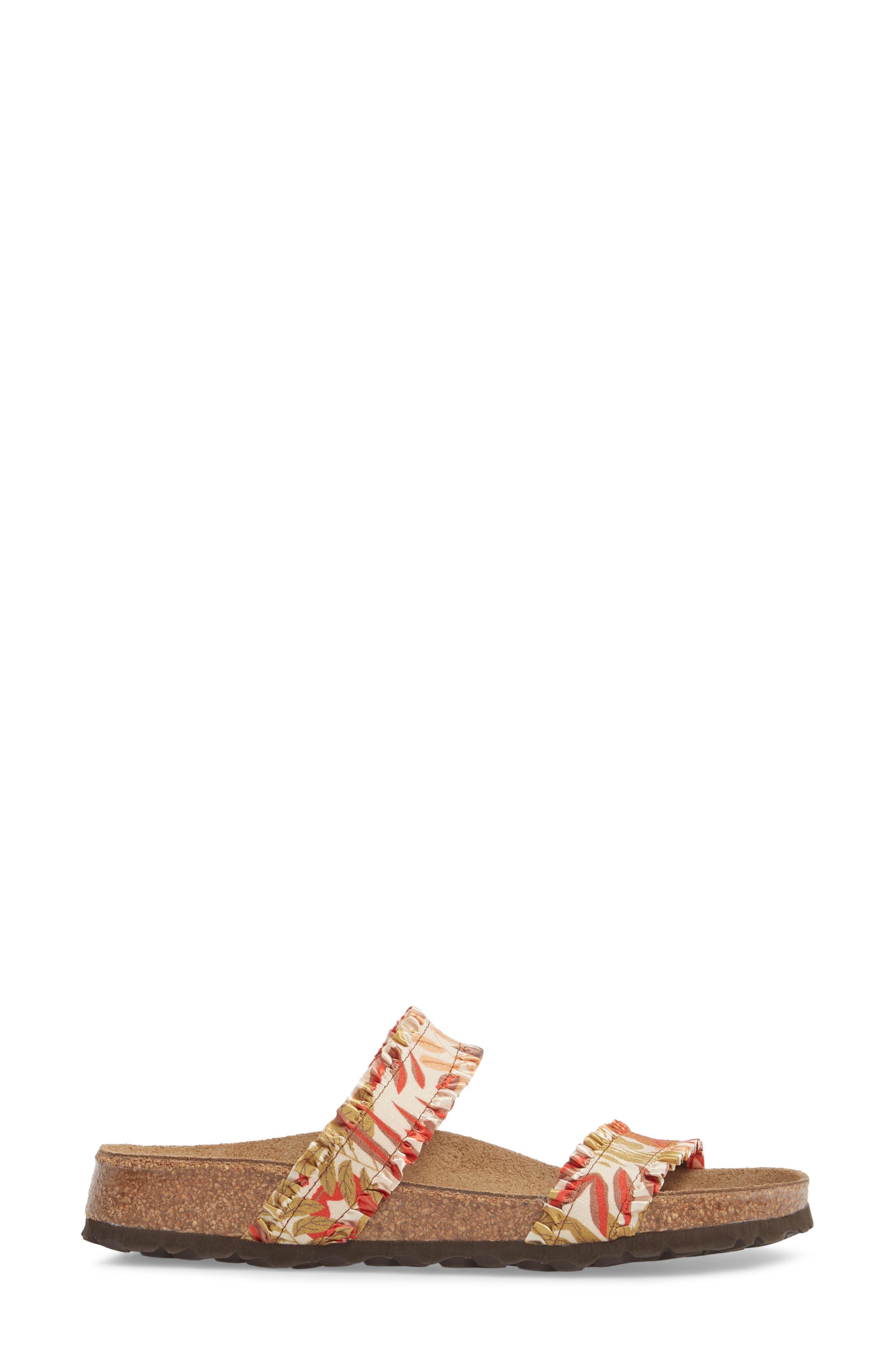 Papillio by Birkenstock Curacao Slide Sandal,                             Alternate thumbnail 3, color,                             Flower Frill Brown Fabric