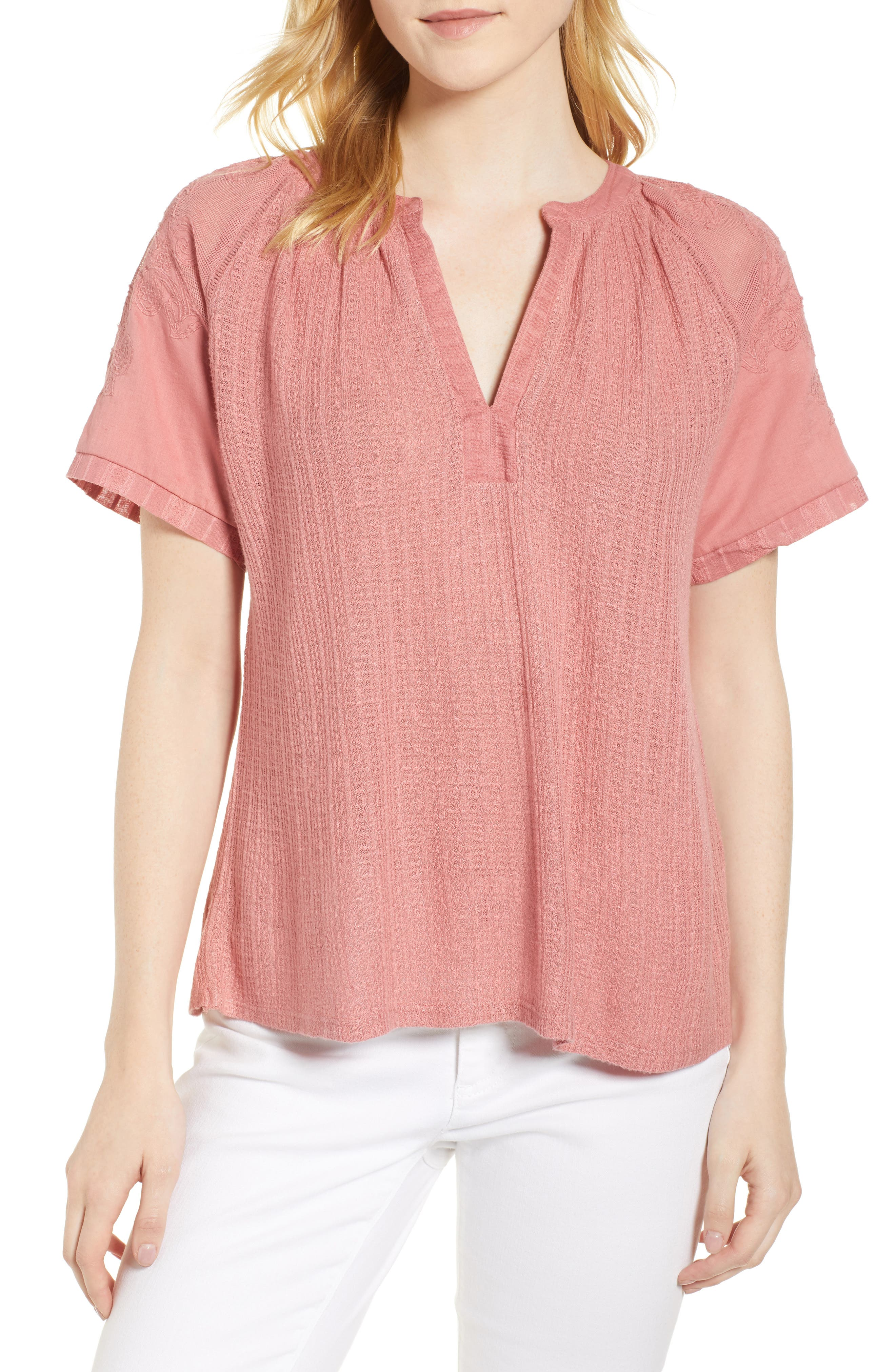 Floral Sleeve Top,                             Main thumbnail 1, color,                             Rose