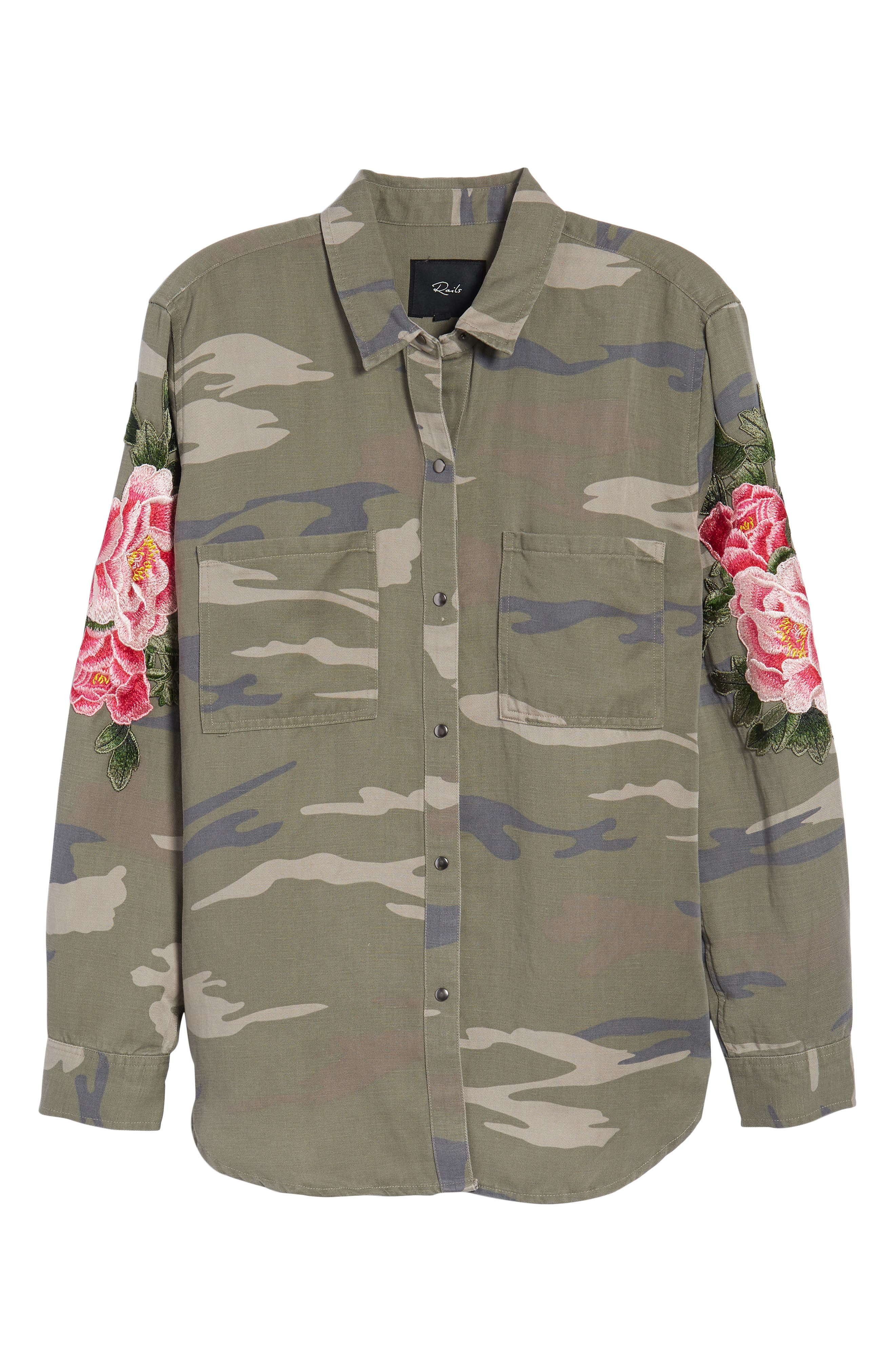 Marcel Embroidered Shirt,                             Alternate thumbnail 8, color,                             Sage Camo With Floral
