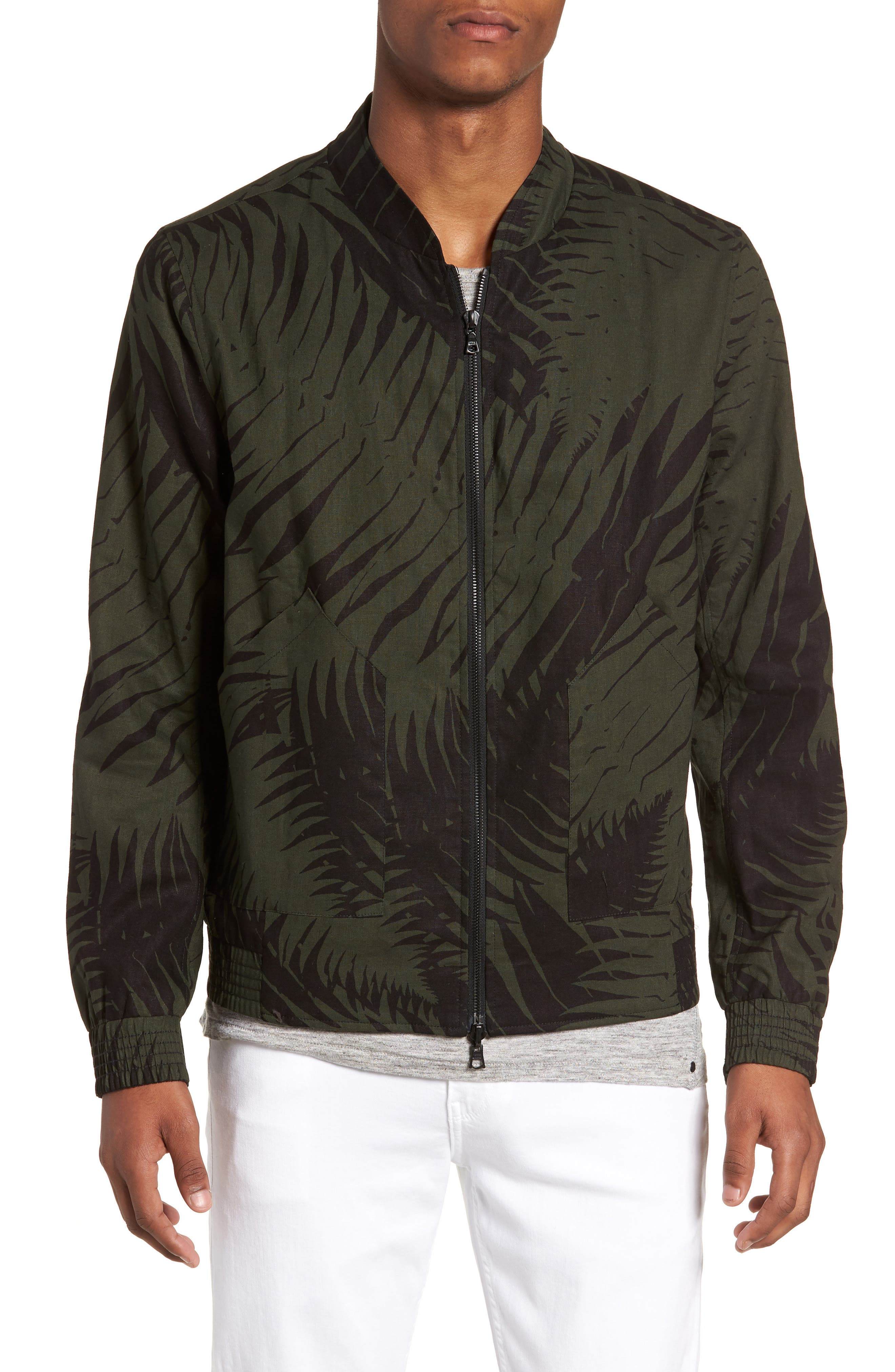Reversible Bomber Jacket,                             Alternate thumbnail 2, color,                             Black/ Jungle Green