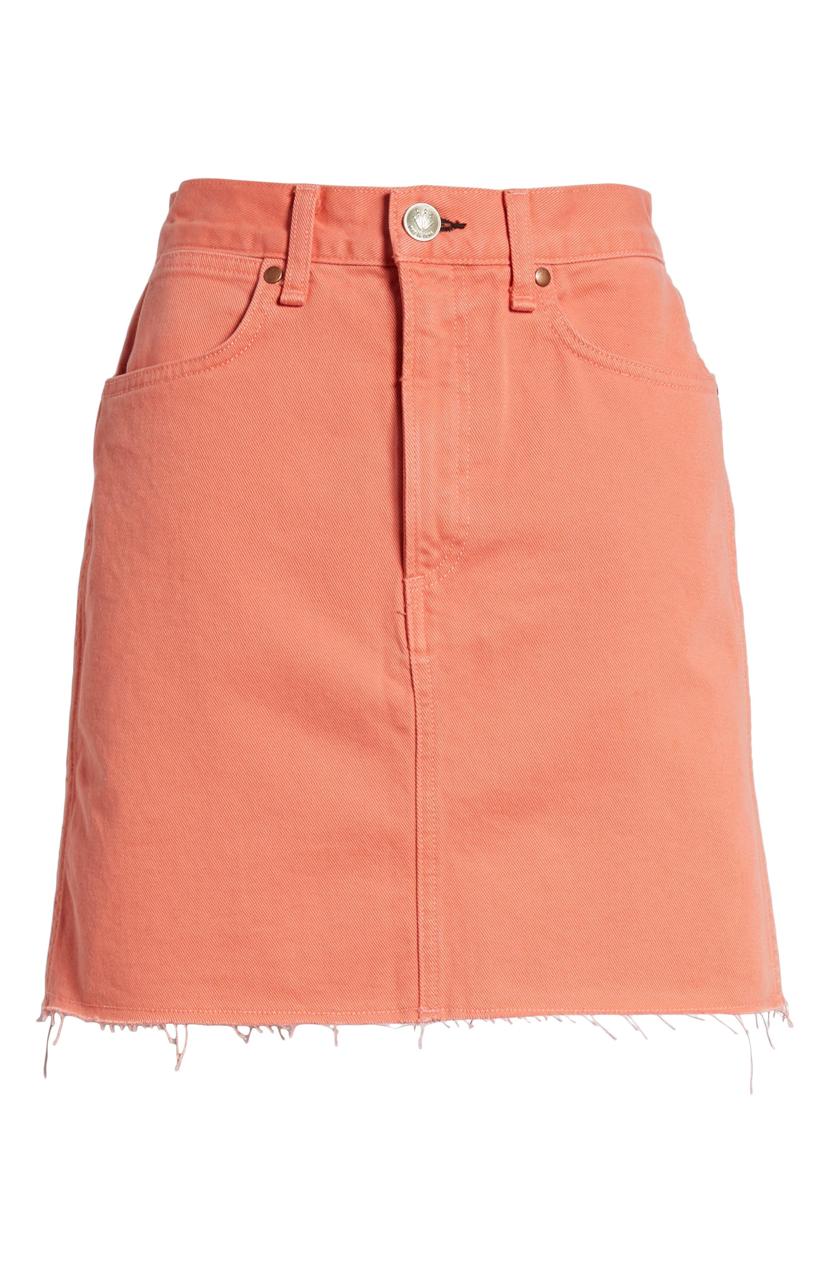 Moss High Waist Denim Miniskirt,                             Alternate thumbnail 7, color,                             Coral Haze