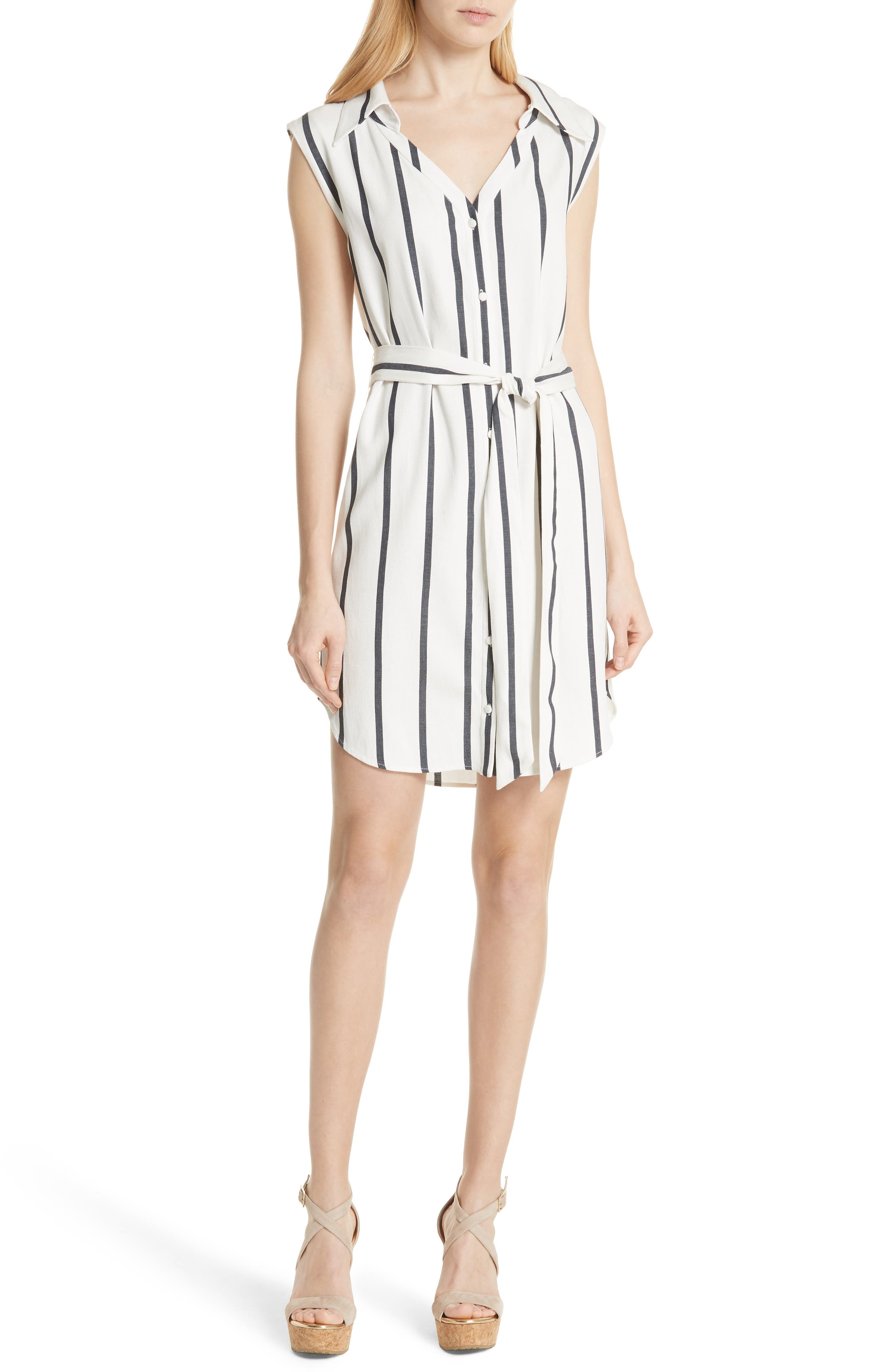 Alice + Olivia Payton Stripe Sleeveless Shirtdress