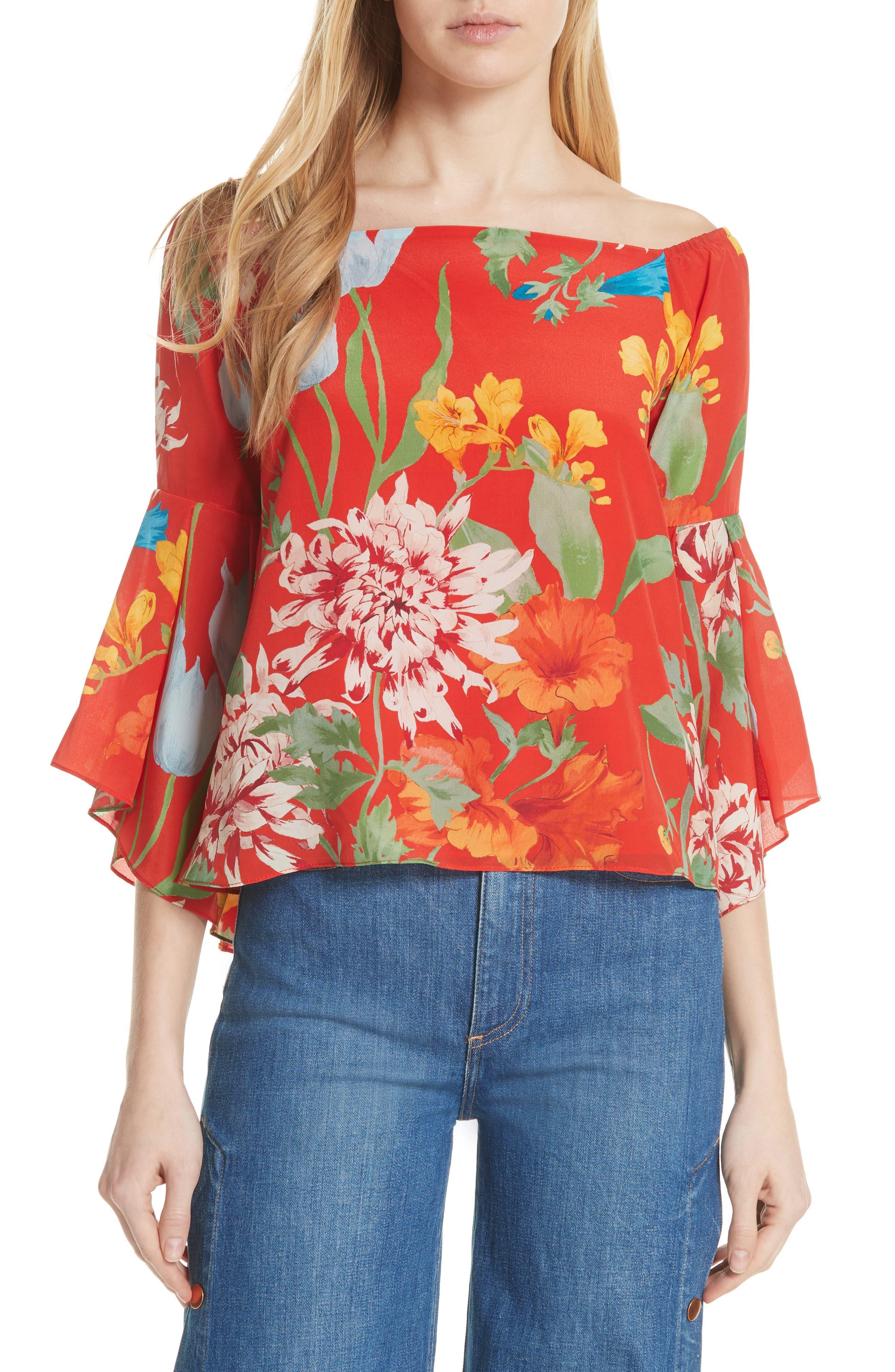 Alice + Olivia Rissy Floral Off the Shoulder Silk Top