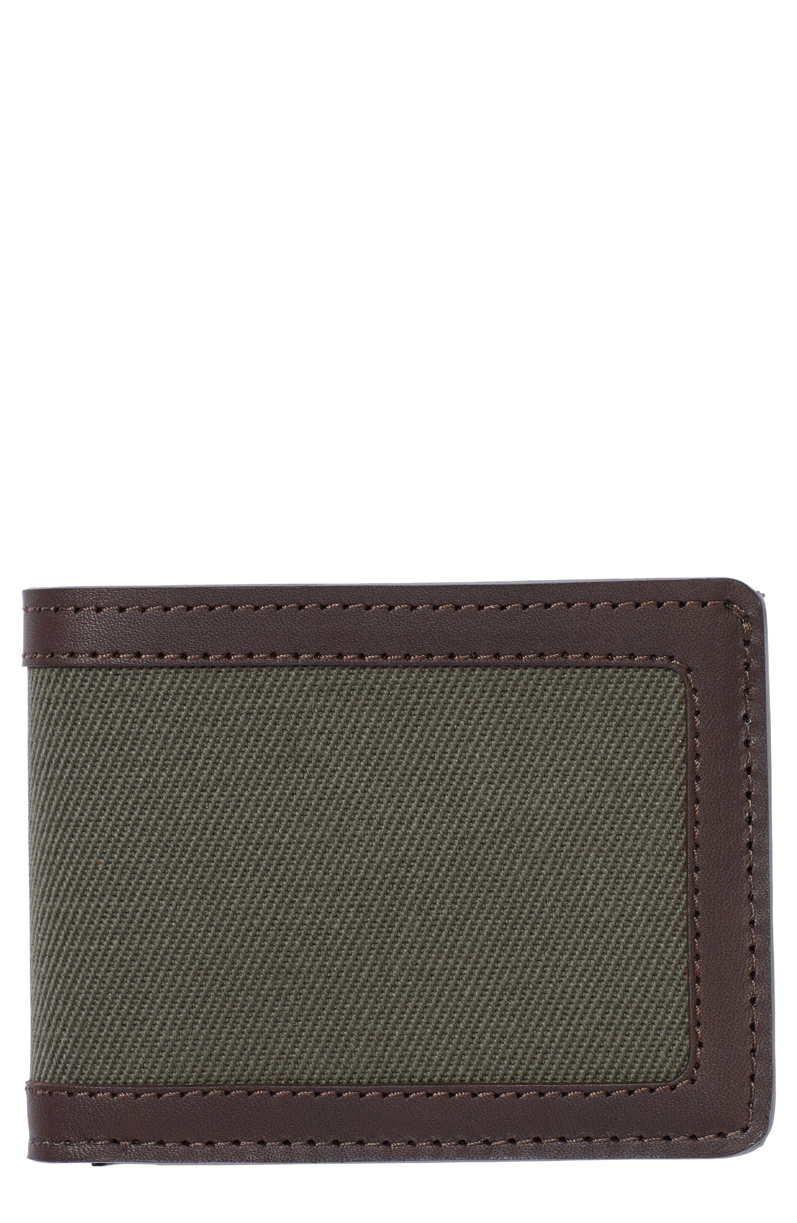 Outfitter Leather & Canvas Bifold Wallet,                         Main,                         color, Otter Green