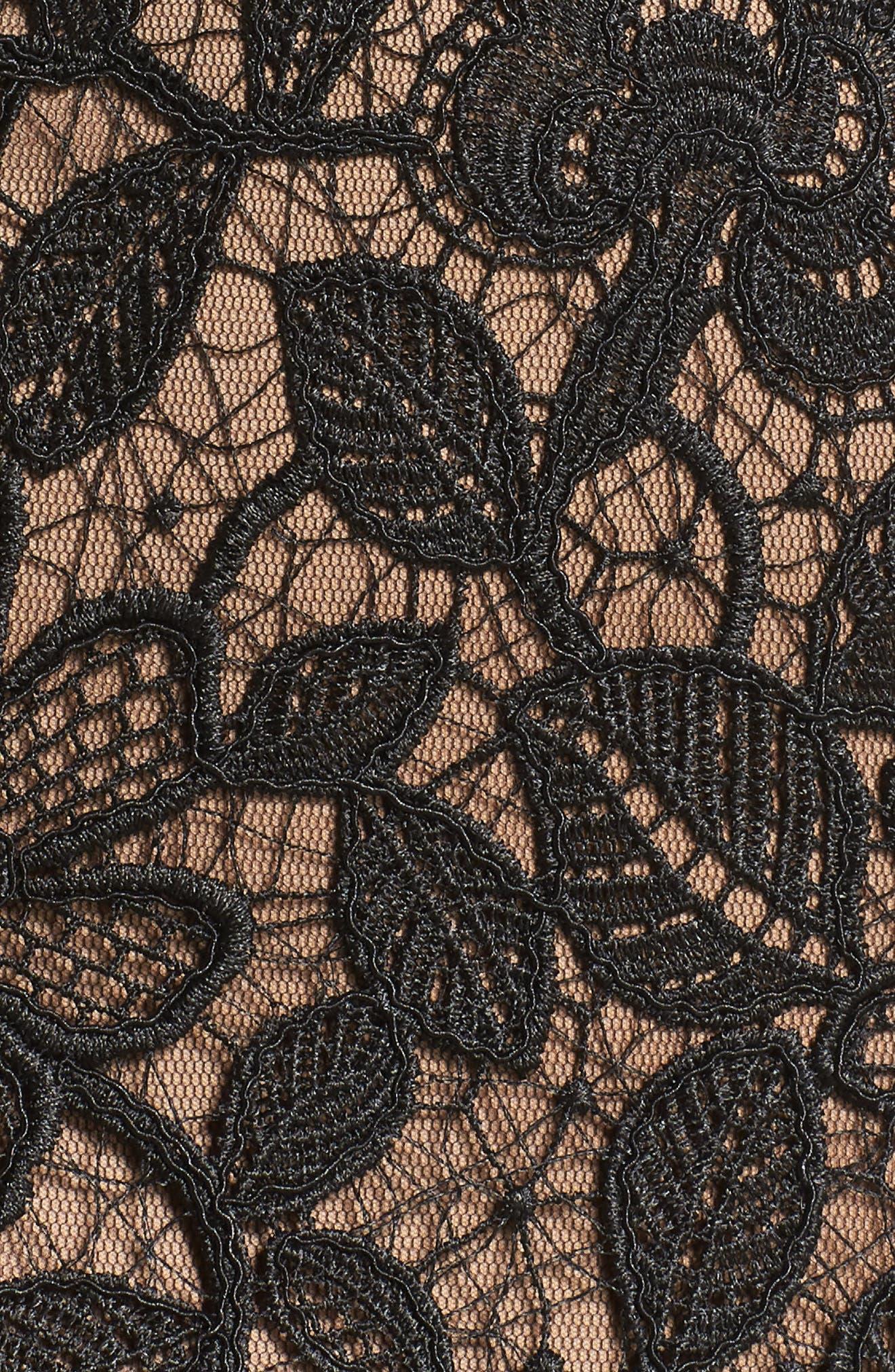Lace Trumpet Gown,                             Alternate thumbnail 6, color,                             Black/ Nude