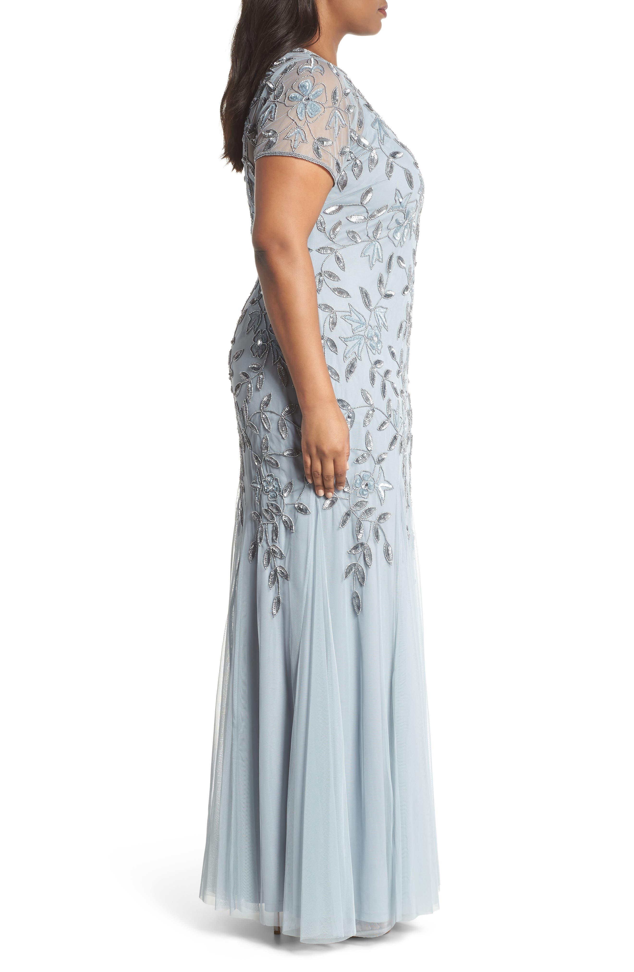 Floral Beaded Godet Gown,                             Alternate thumbnail 3, color,                             Blue Heather