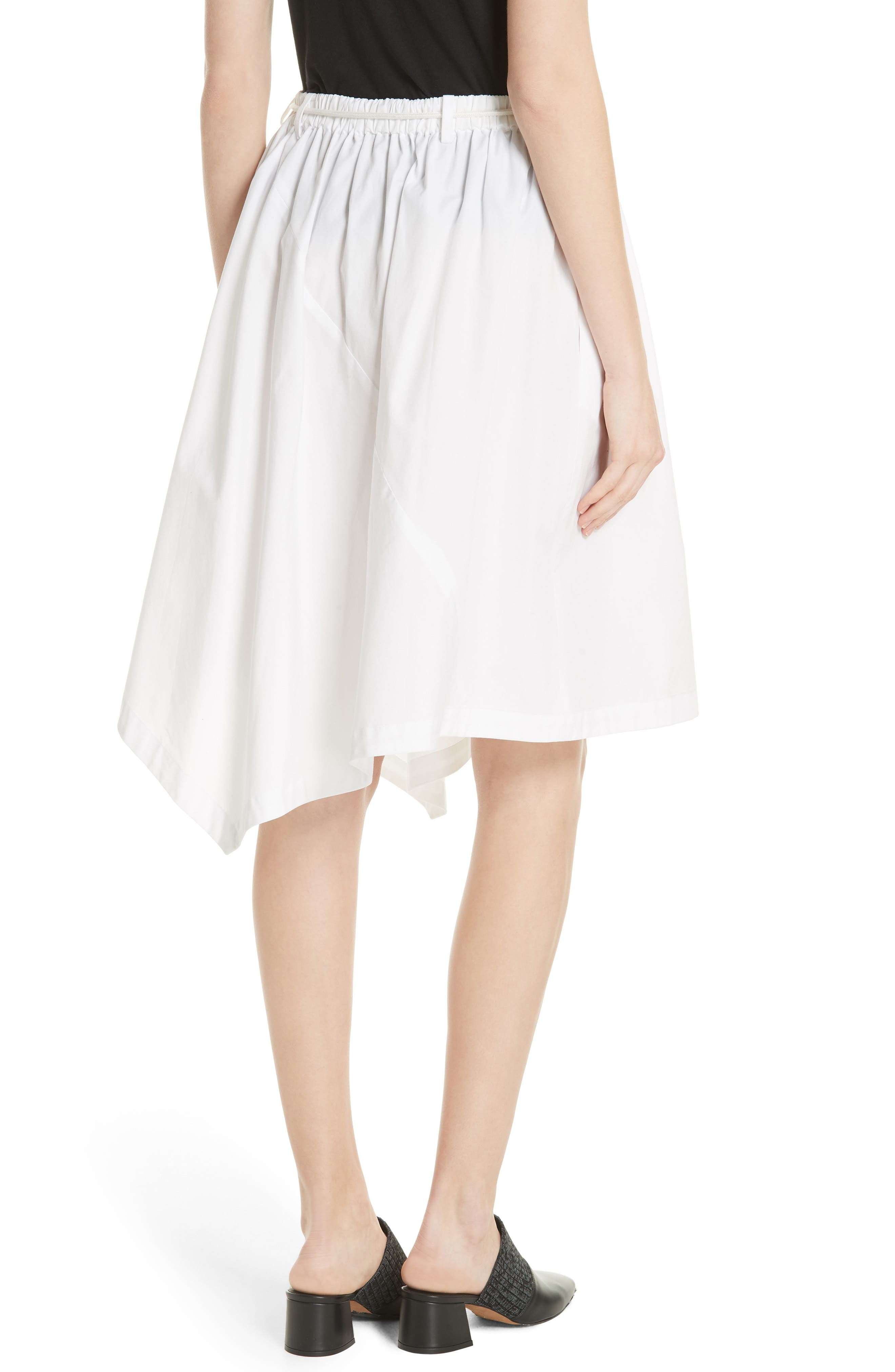 Asymmetrical Drawstring Cotton Skirt,                             Alternate thumbnail 2, color,                             Optic White
