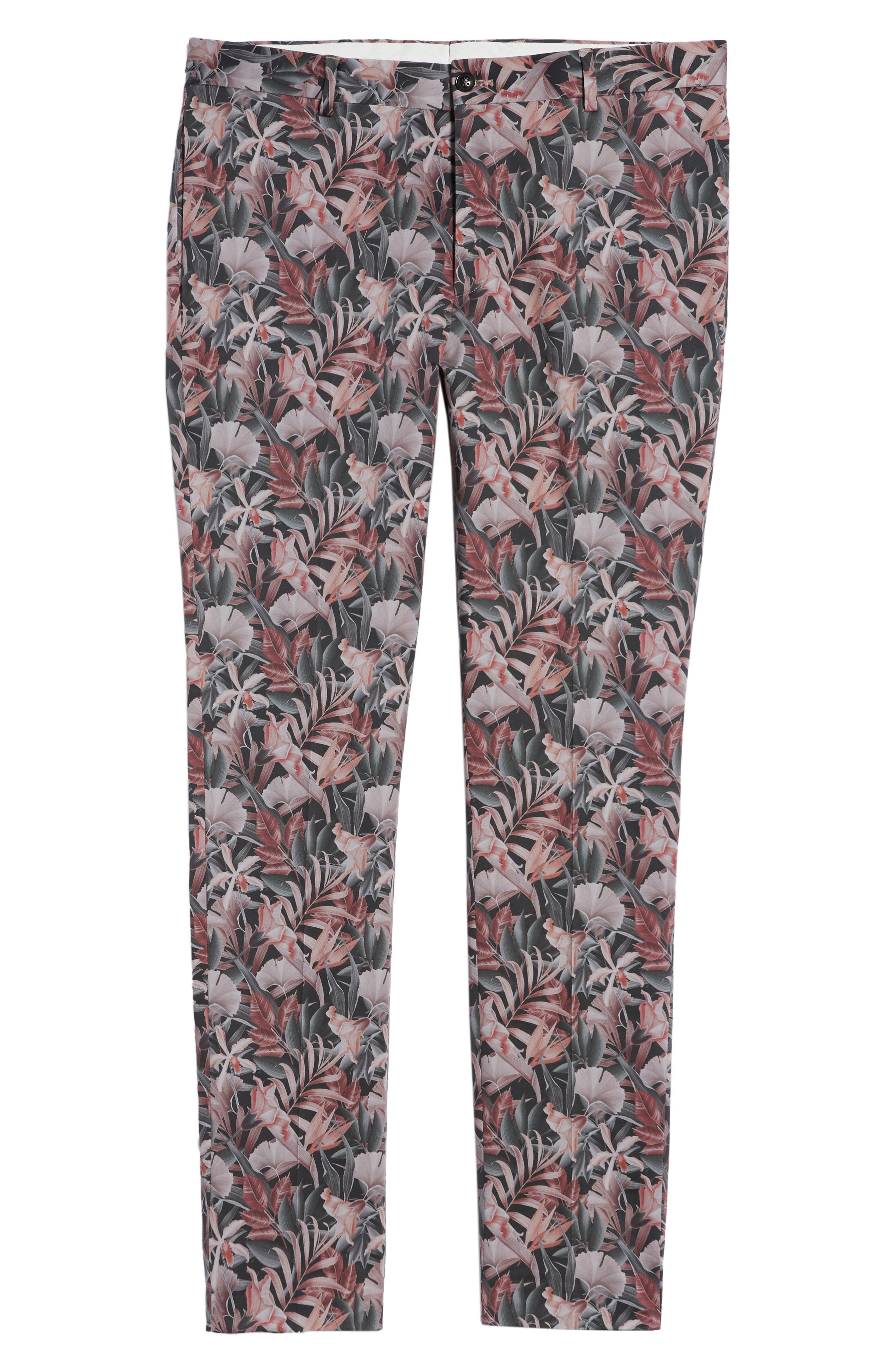Ultra Skinny Fit Hibiscus Print Suit Trousers,                             Alternate thumbnail 6, color,                             Pink Multi